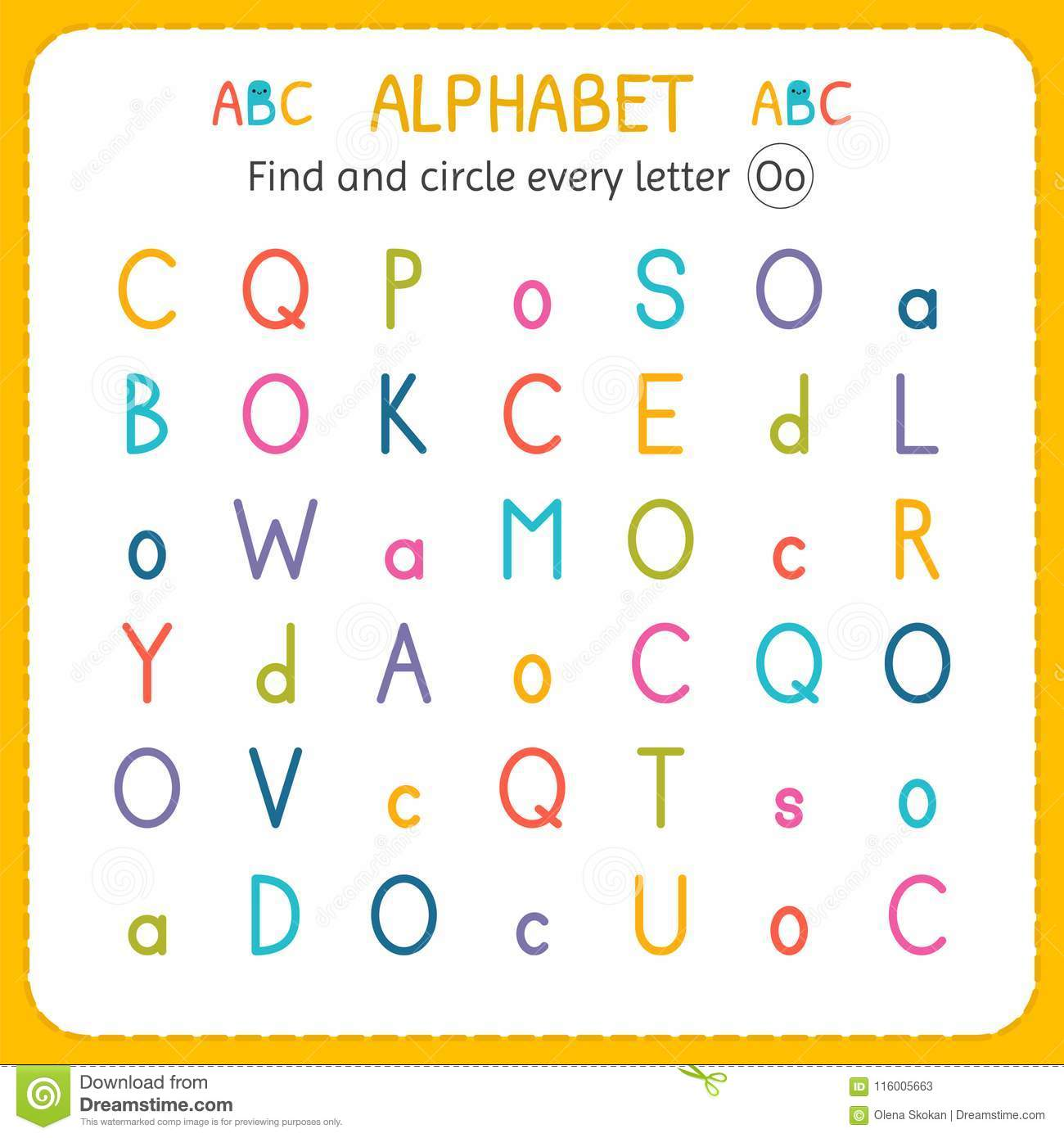 Find And Circle Every Letter O Worksheet For Kindergarten And Preschool Exercises For Children