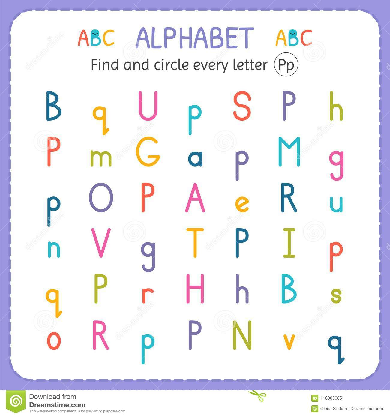 Find And Circle Every Letter P Worksheet For Kindergarten