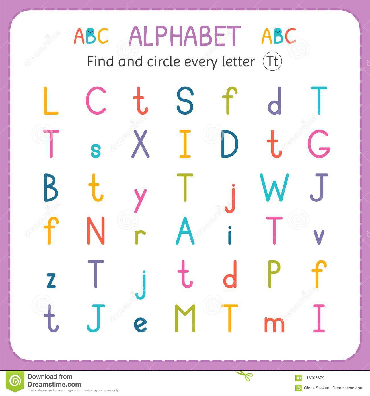 Find And Circle Every Letter T Worksheet For Kindergarten