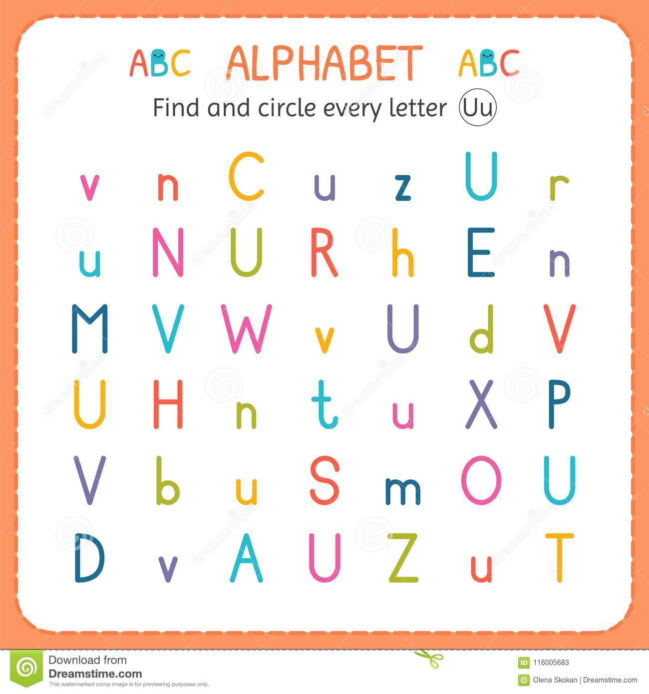 Find And Circle Every Letter U Worksheet For Kindergarten