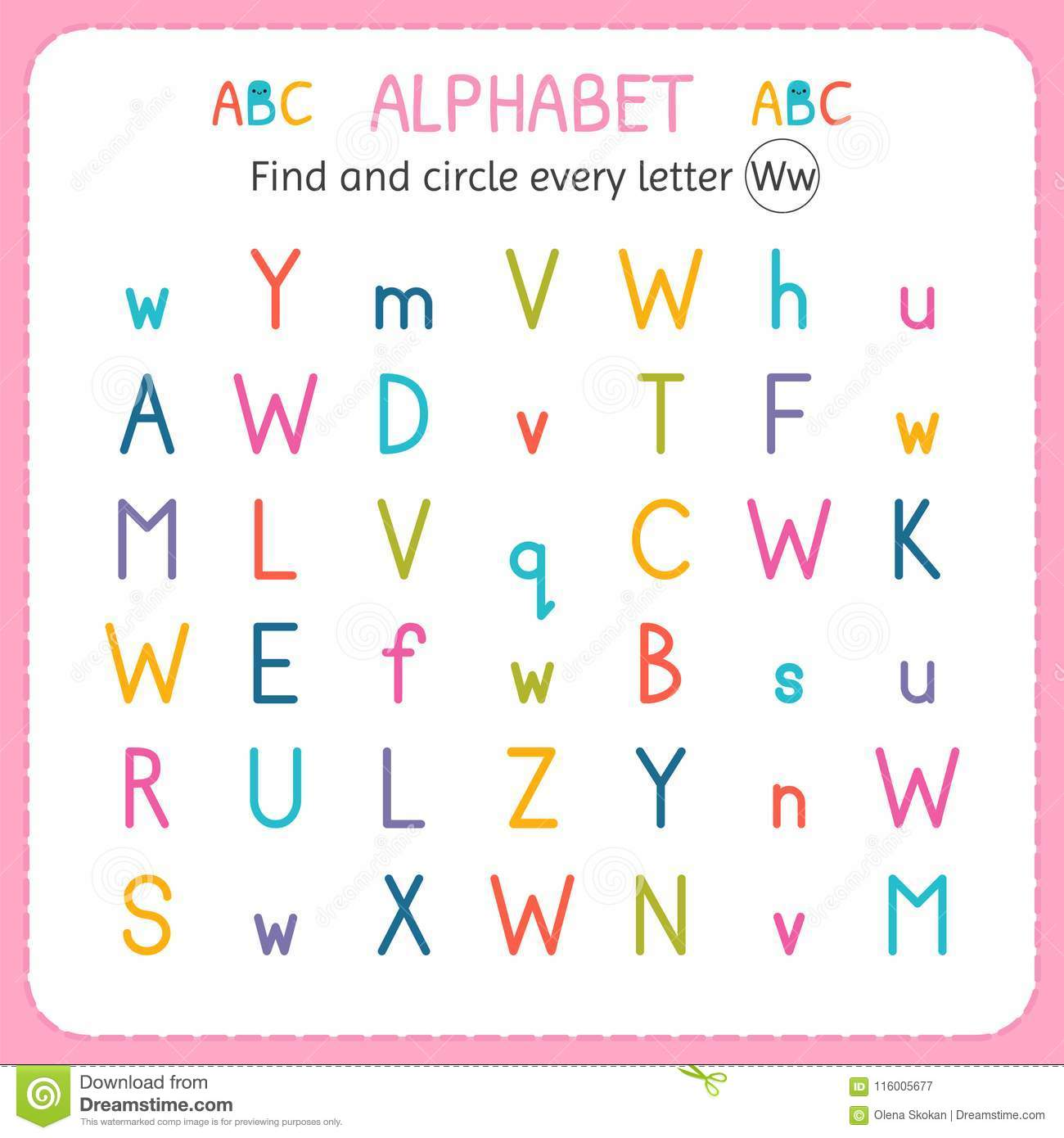 Find And Circle Every Letter W Worksheet For Kindergarten