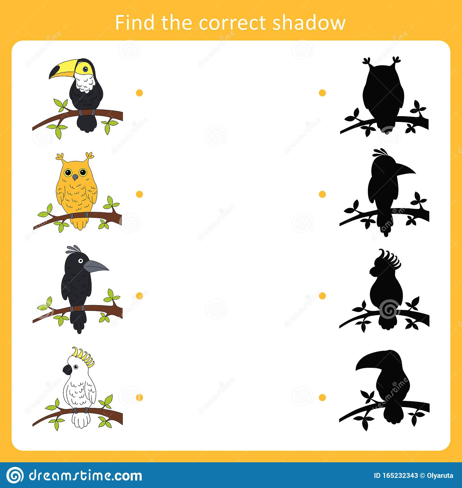 Find The Correct Shadow For Birds Stock Vector