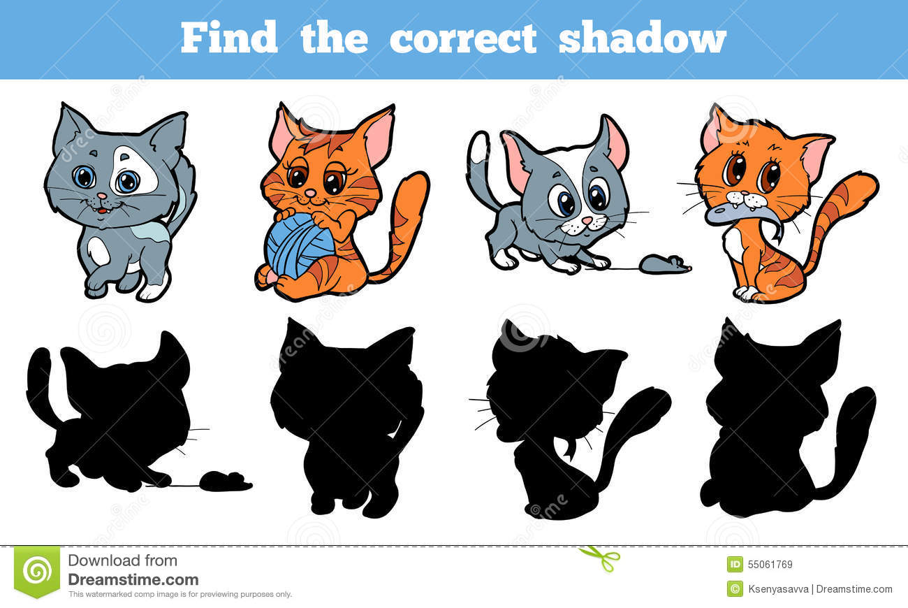 Find The Correct Shadow Cat Stock Vector