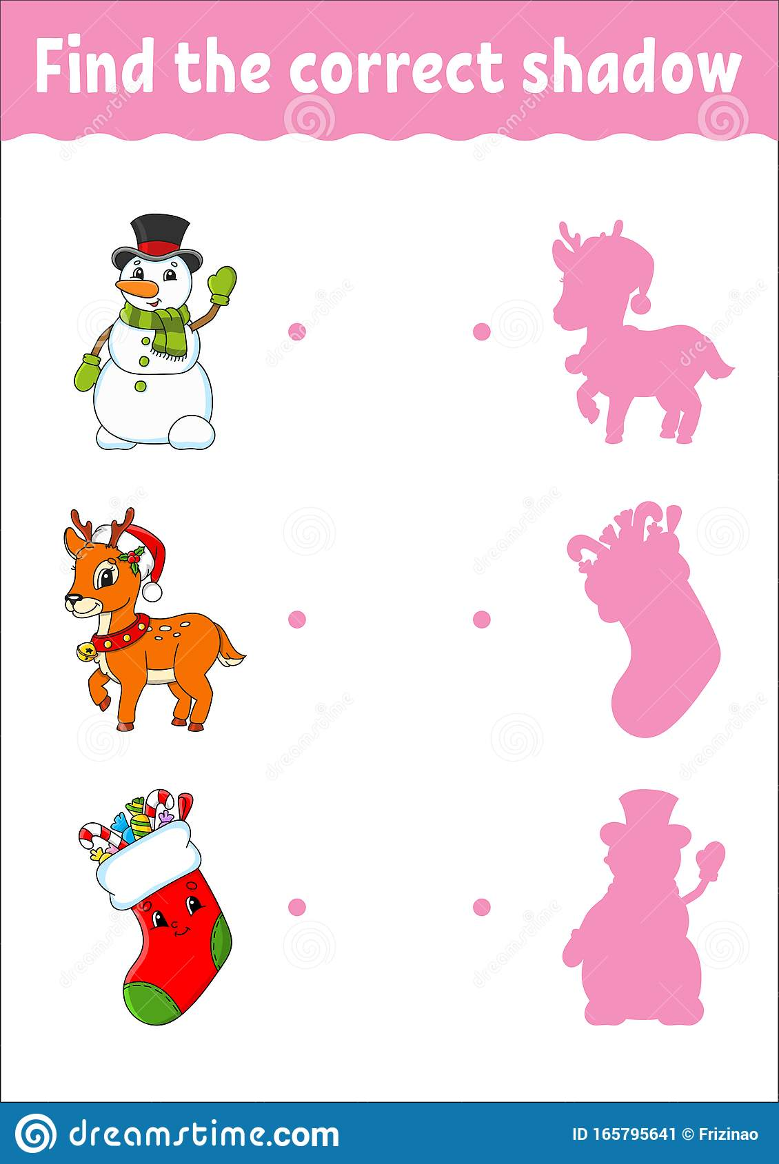 Find The Correct Shadow Deer Snowman Sock Education