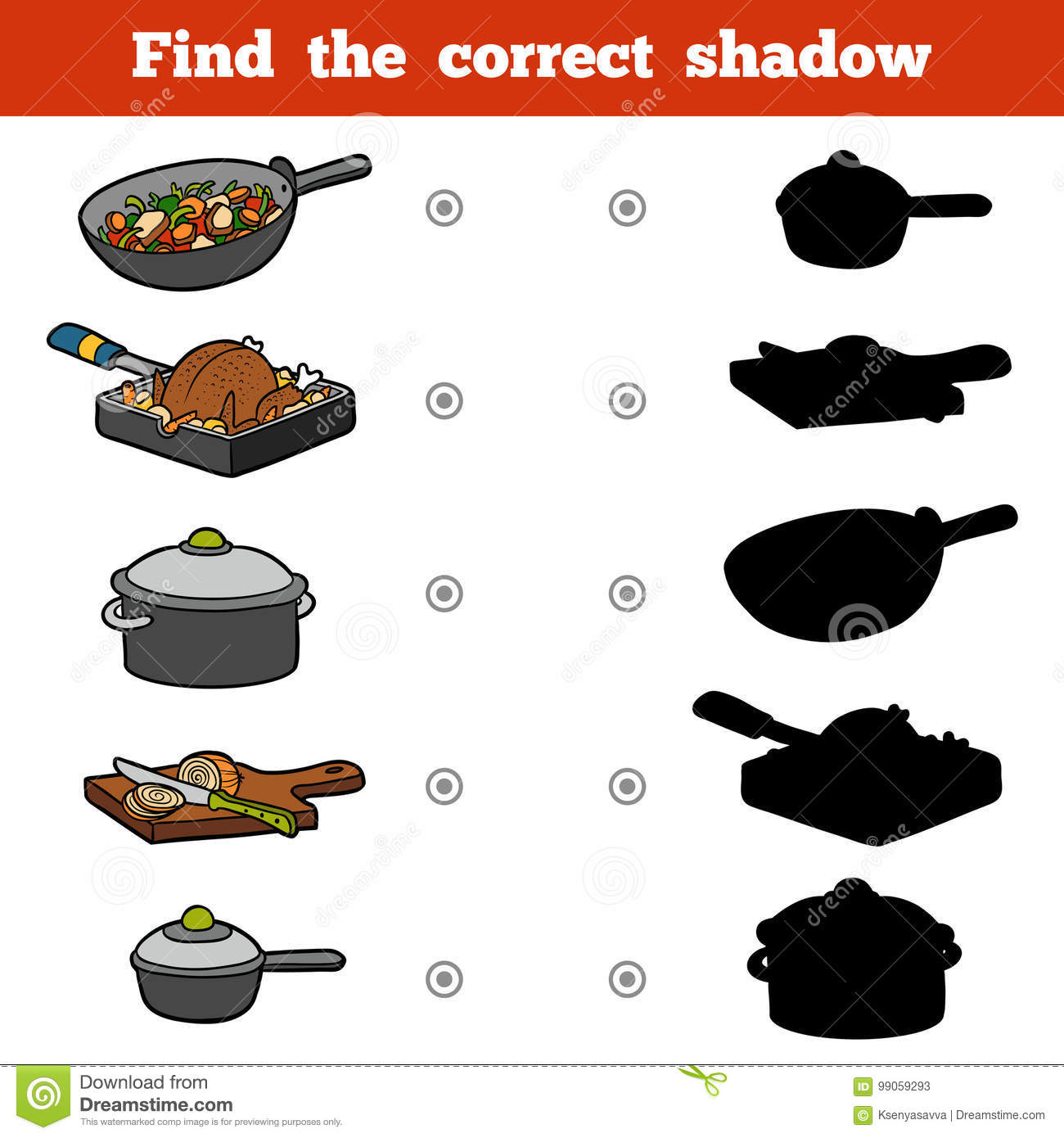 Find The Correct Shadow Set Of Kitchen Utensils Stock