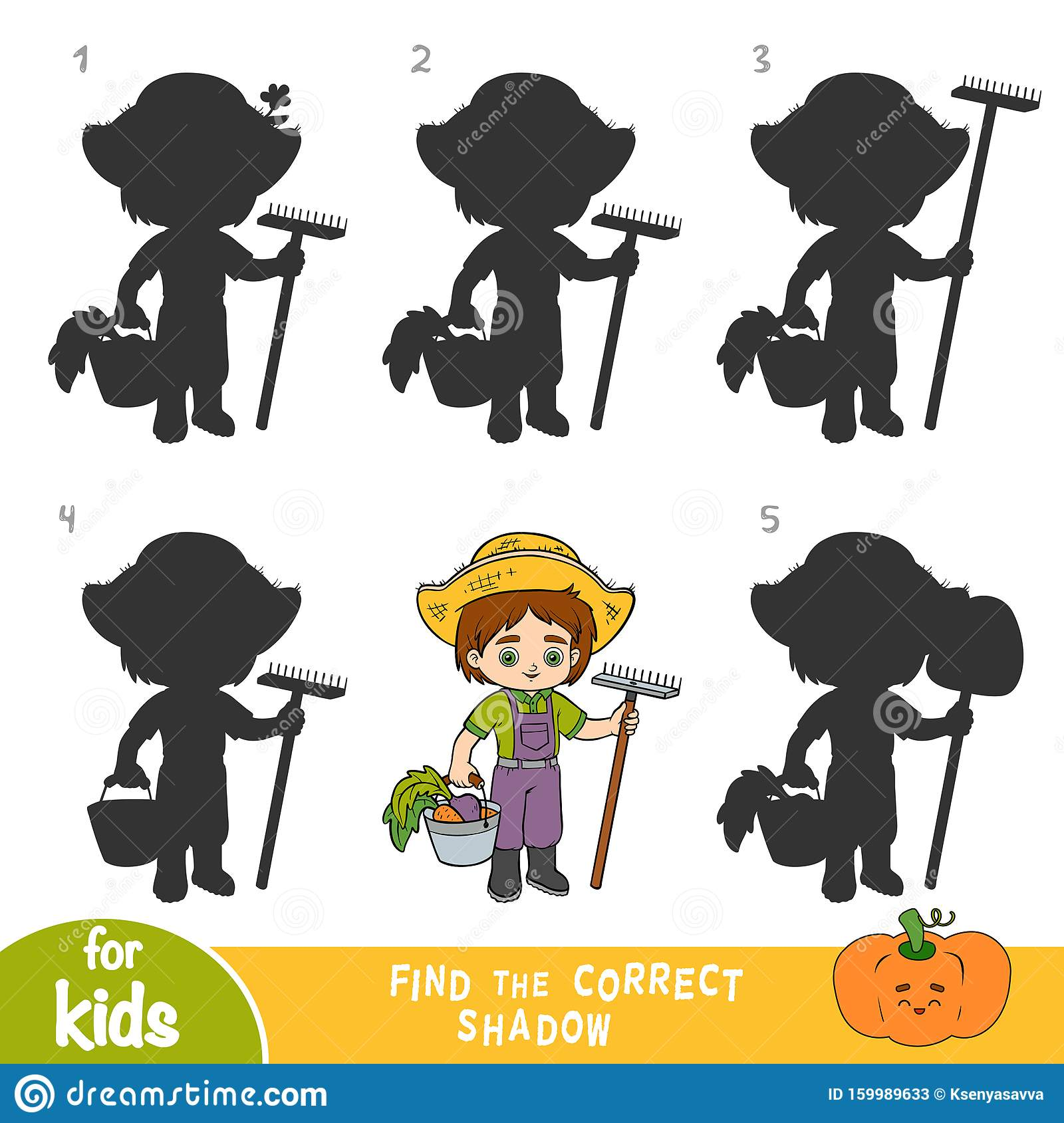 Find The Correct Shadow Education Game Farmer Boy With