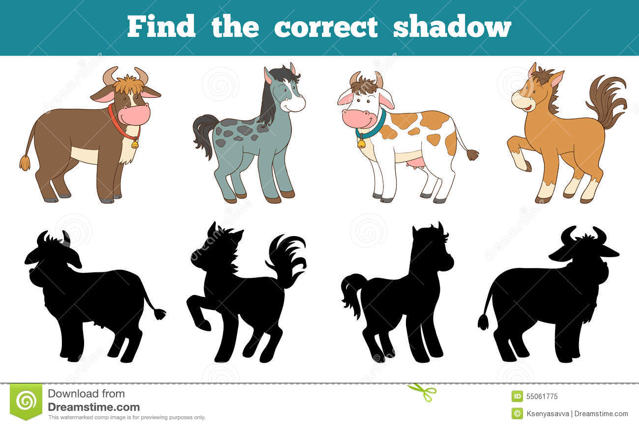 Find The Correct Shadow Farm Animals Horse And Cows