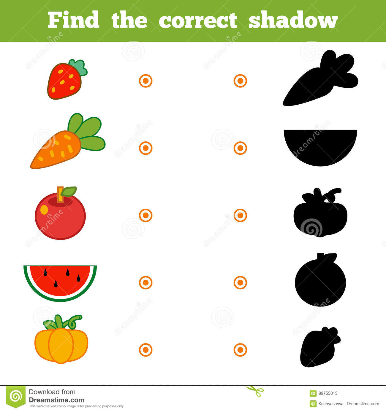 Find The Correct Shadow Game For Children Set Of Cartoon