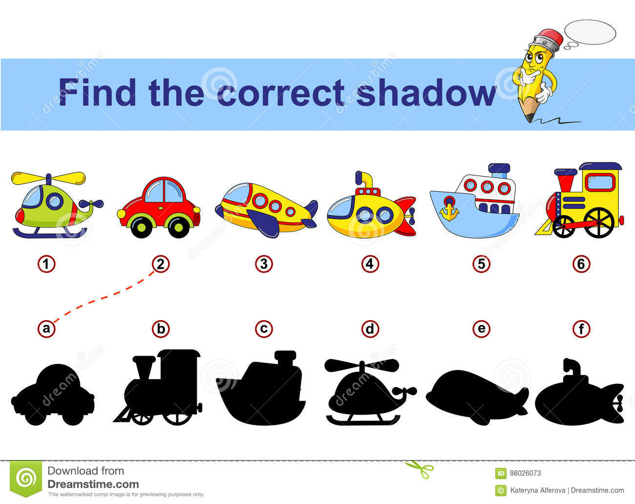 Find Correct Shadow Kids Educational Game Cartoon