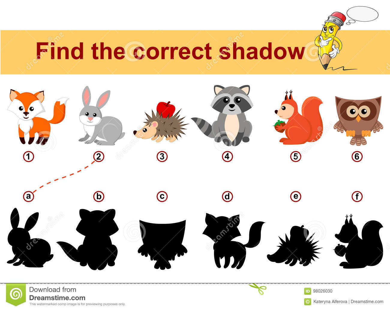 Find Correct Shadow Kids Educational Game Forest Animals