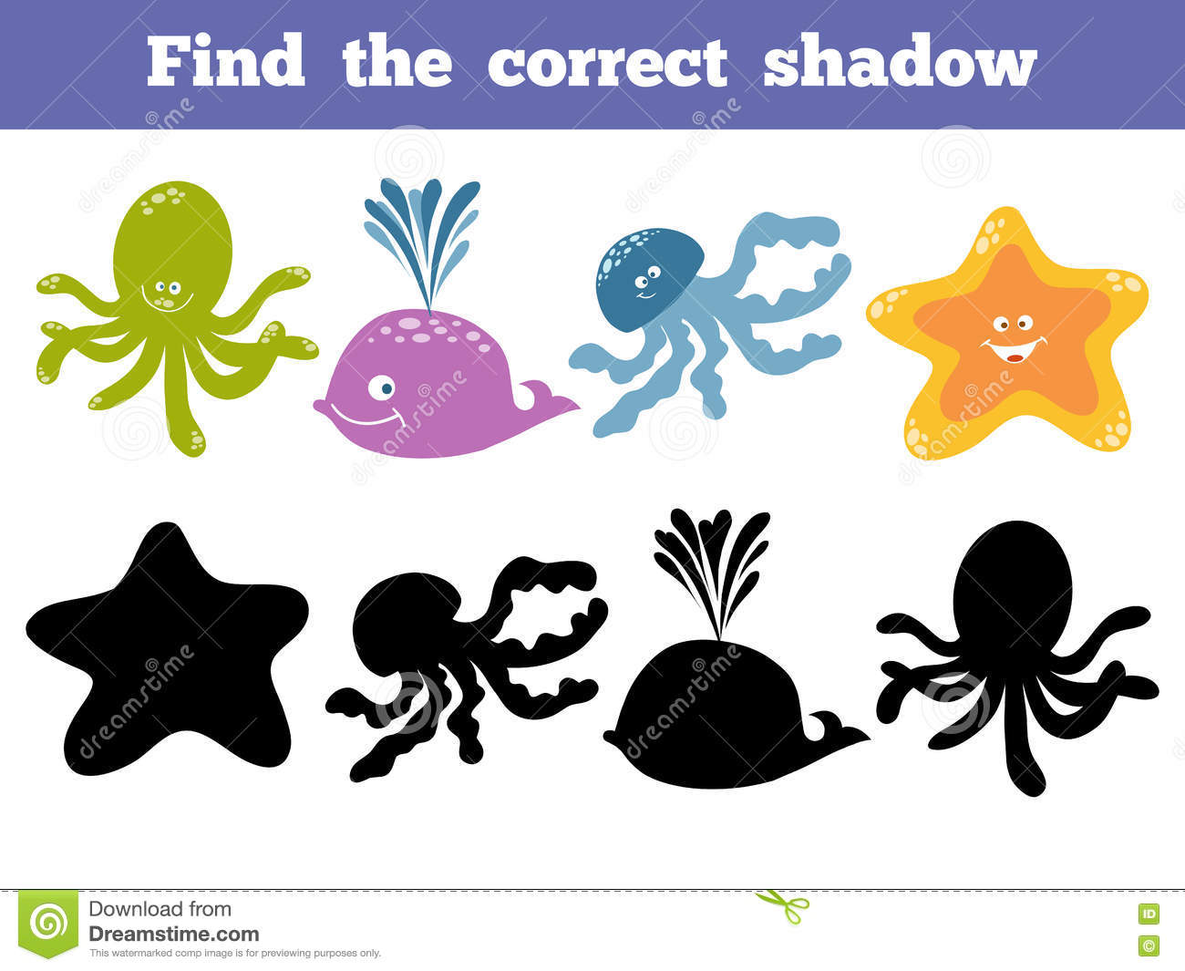 Find The Correct Shadow Vector Color Set Of Sea Life