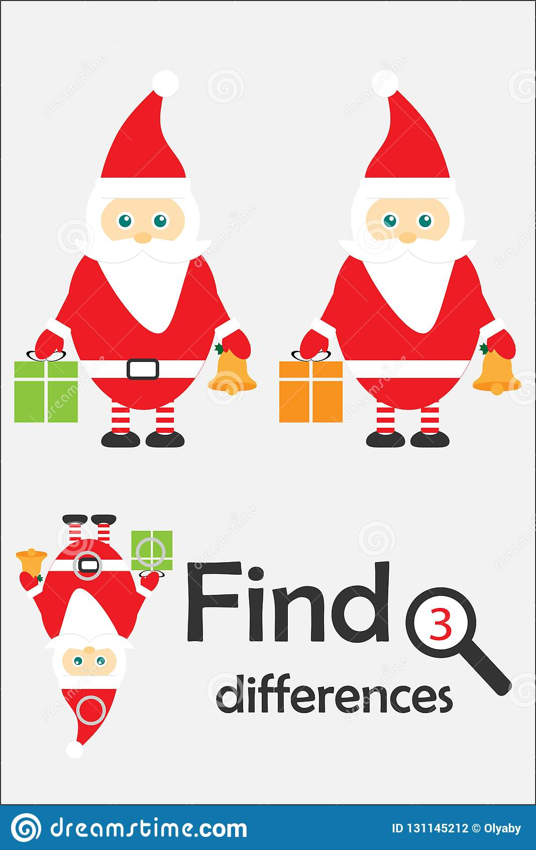 Find 3 Differences Christmas Game For Children Santa
