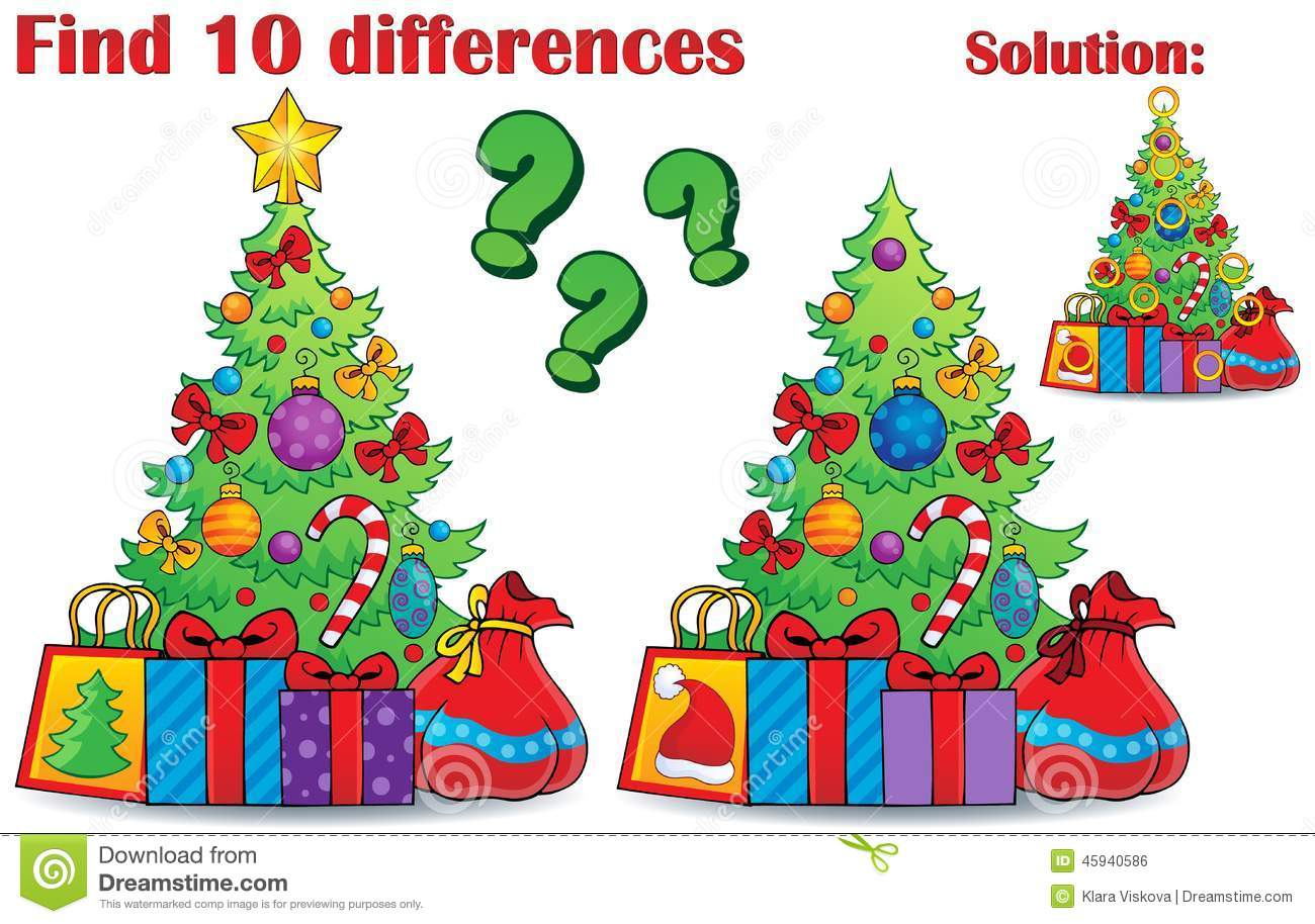 Find Differences Christmas Theme Stock Vector
