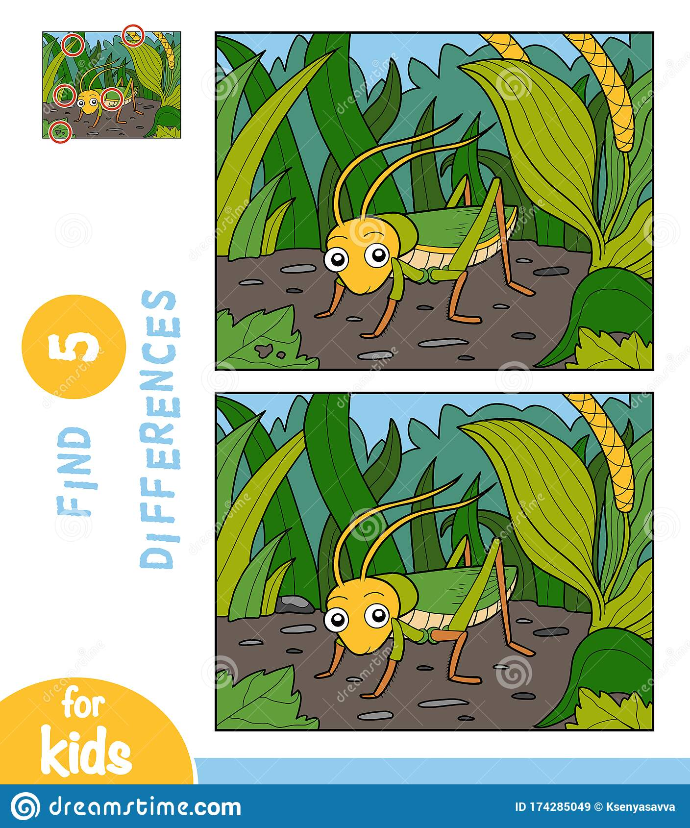 Find Differences Education Game For Children Grasshopper