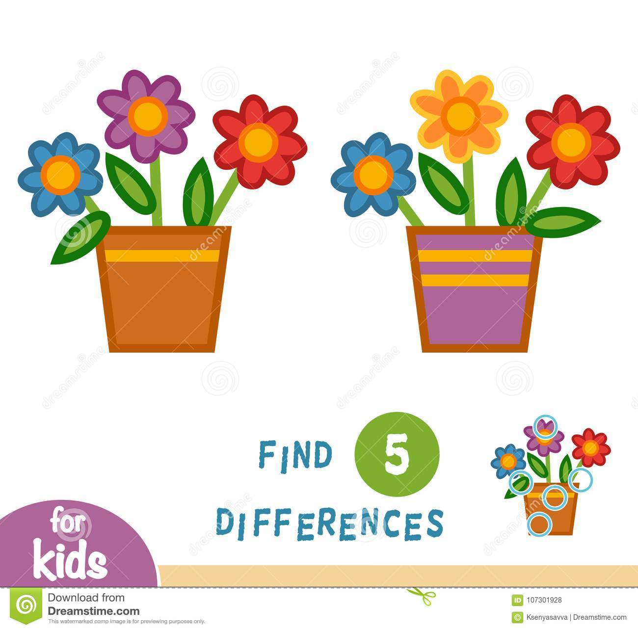 Find Differences Pot Of Flowers Stock Vector