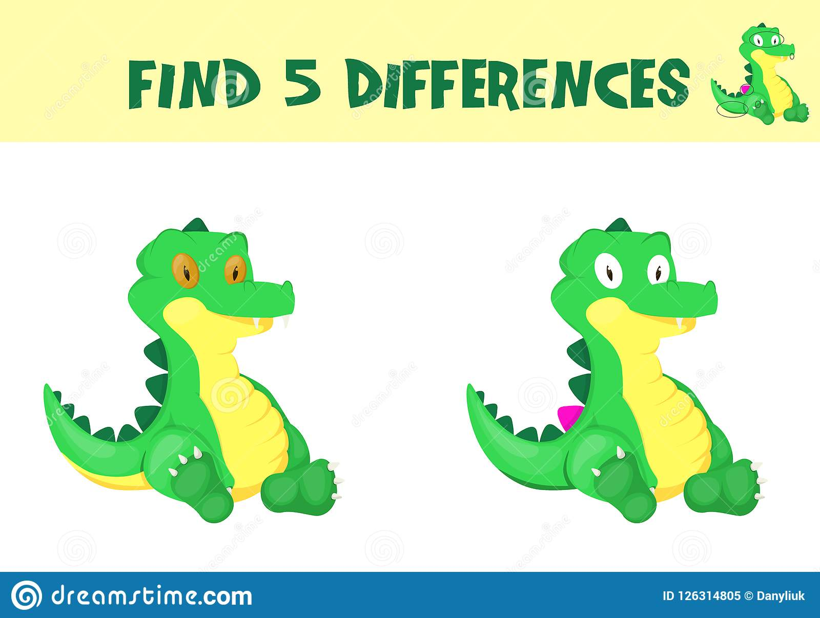 Find Differences Education Game For Children Vector Ready