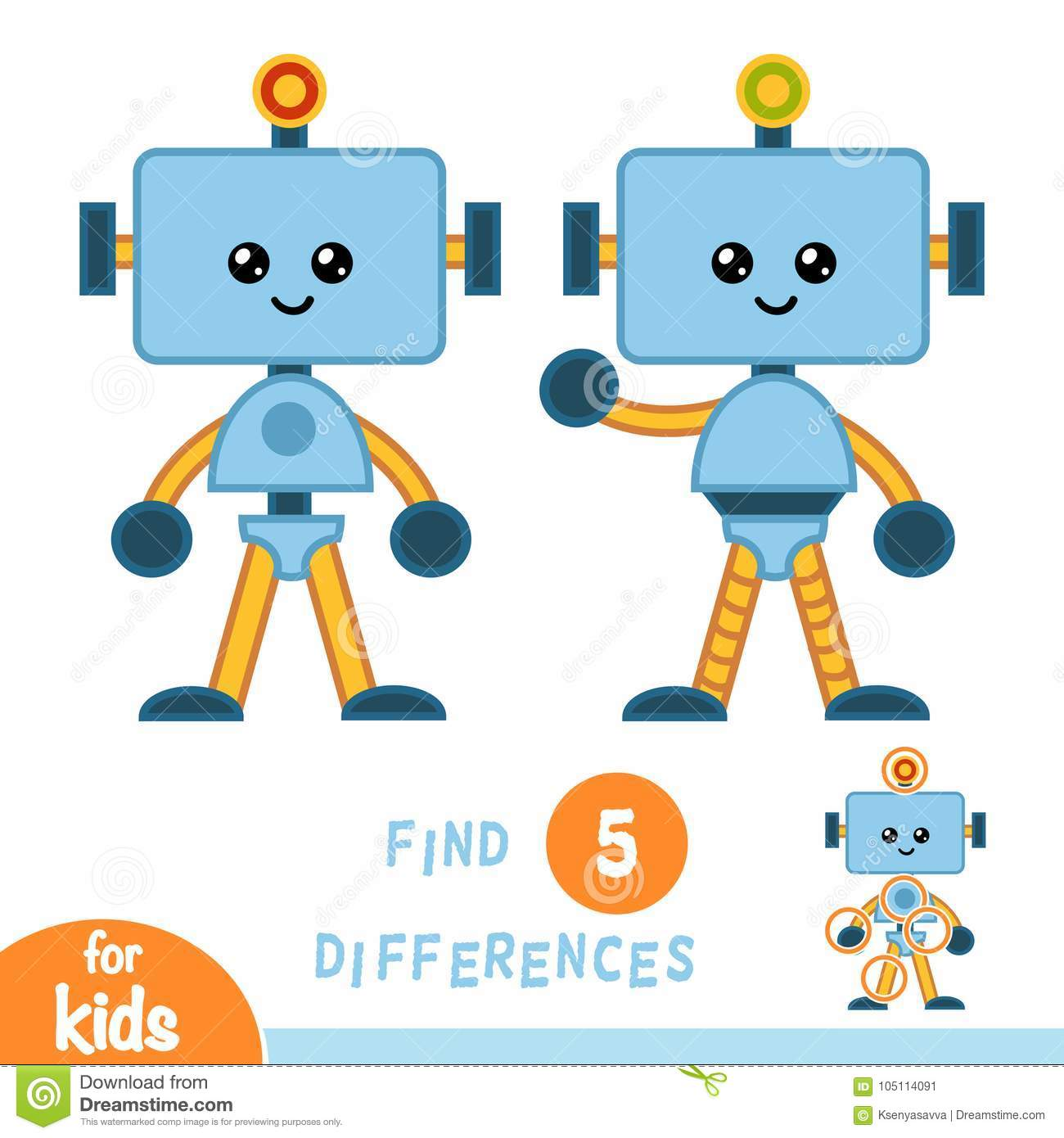 Find Differences Education Game Robot Stock Vector