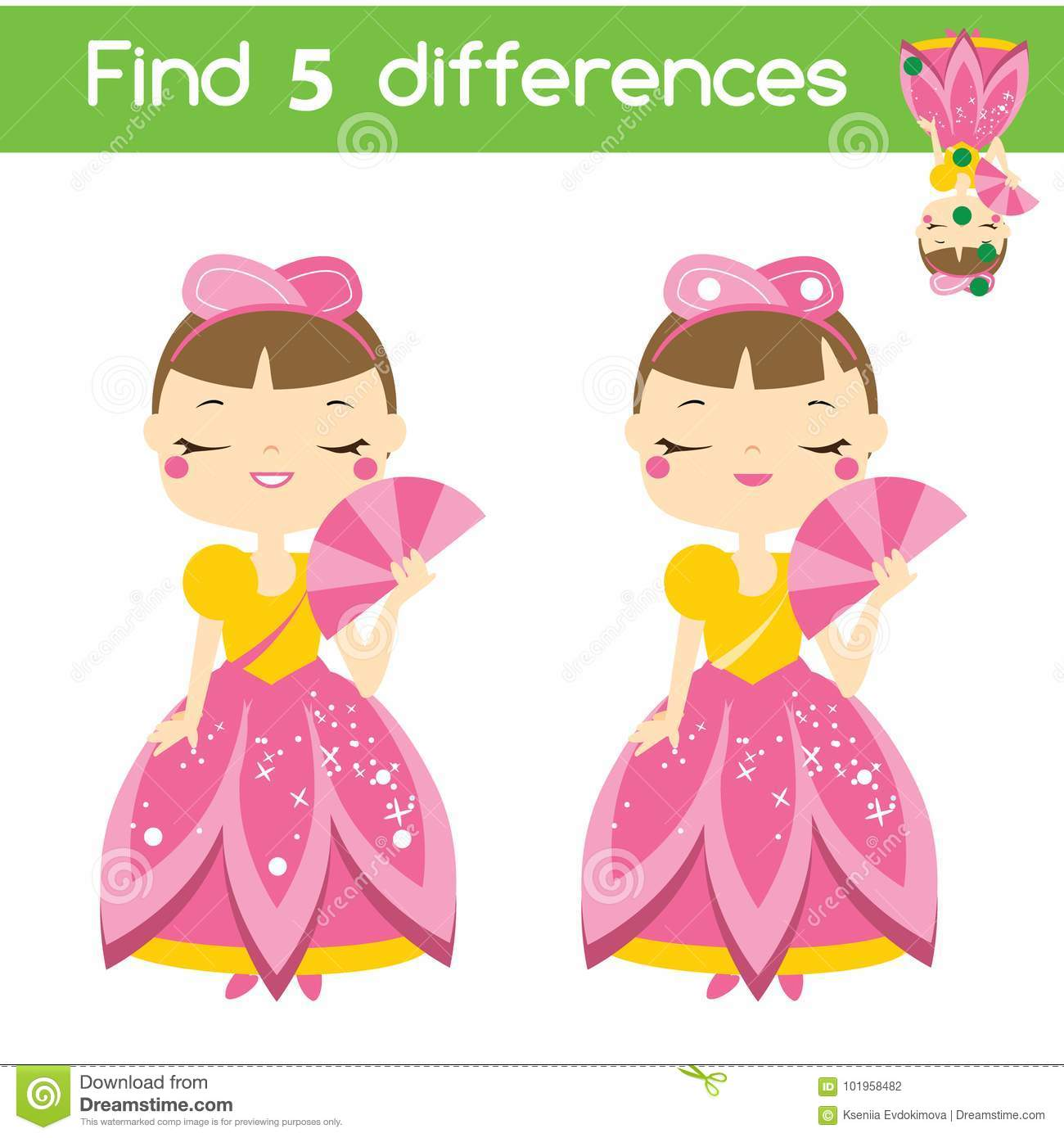 Find The Differences Educational Children Game Kids Activity Sheet With Princess Character