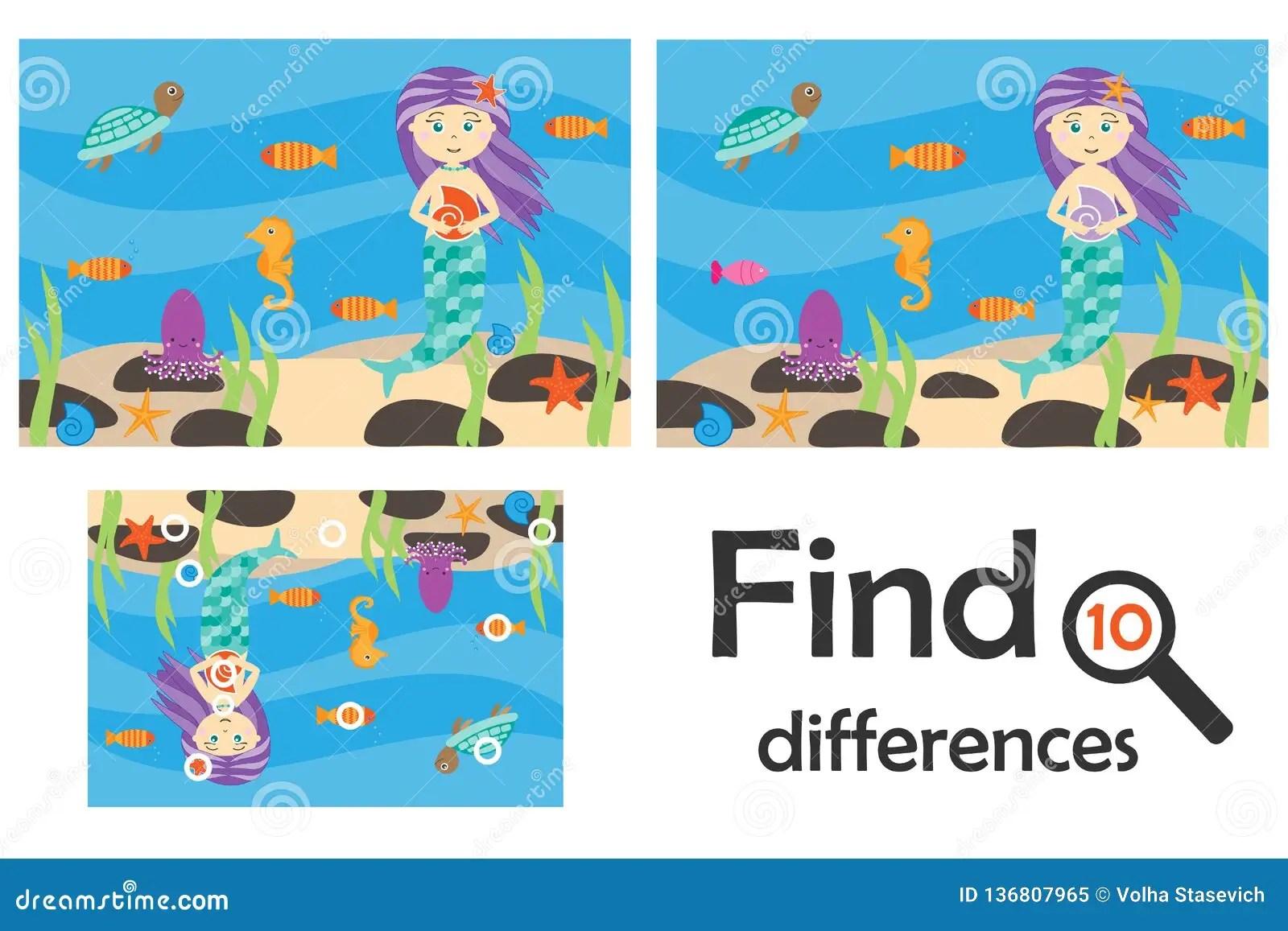 Find 10 Differences Game For Children Mermaid Underwater