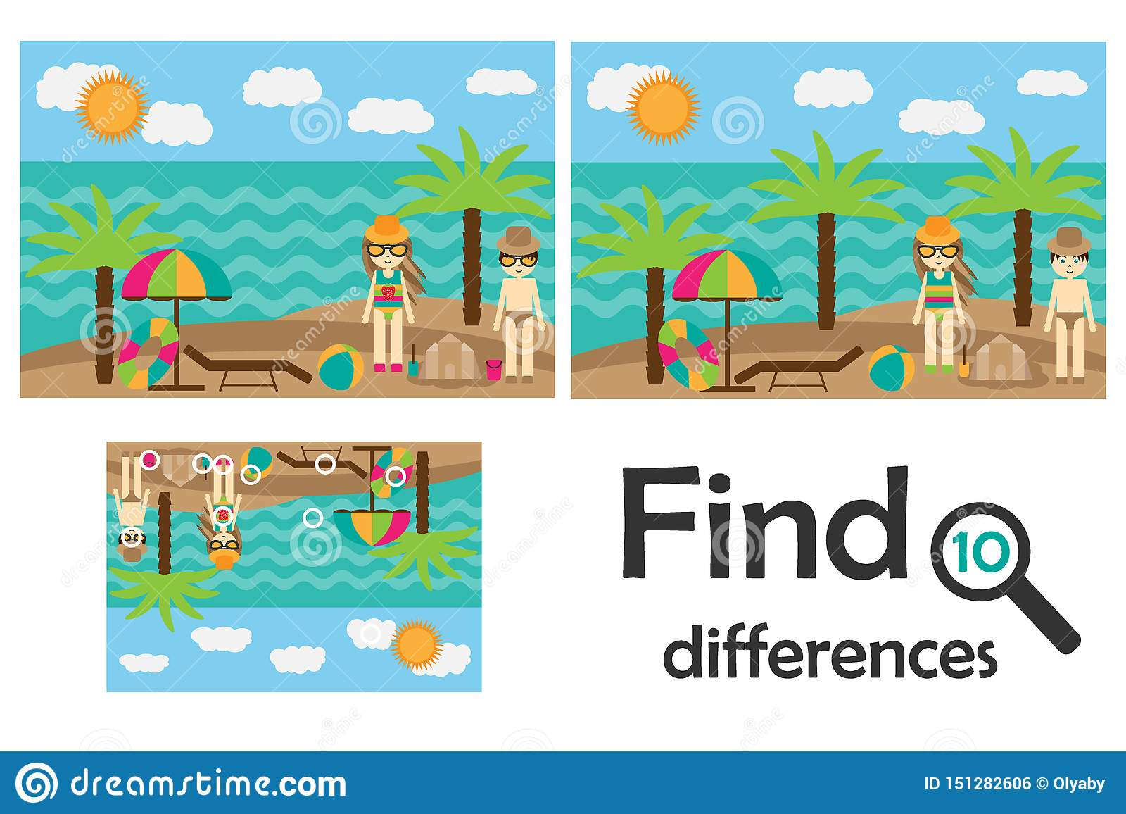 Find 10 Differences Game For Children Summer Beach In