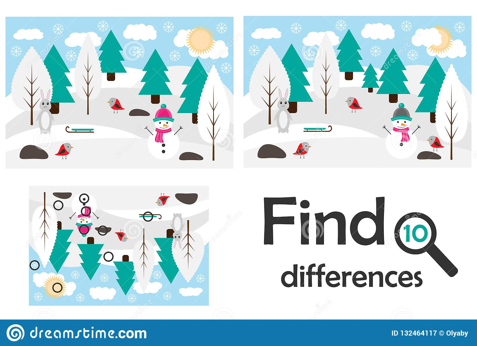 Find 10 Differences Game For Children Winter Snowy