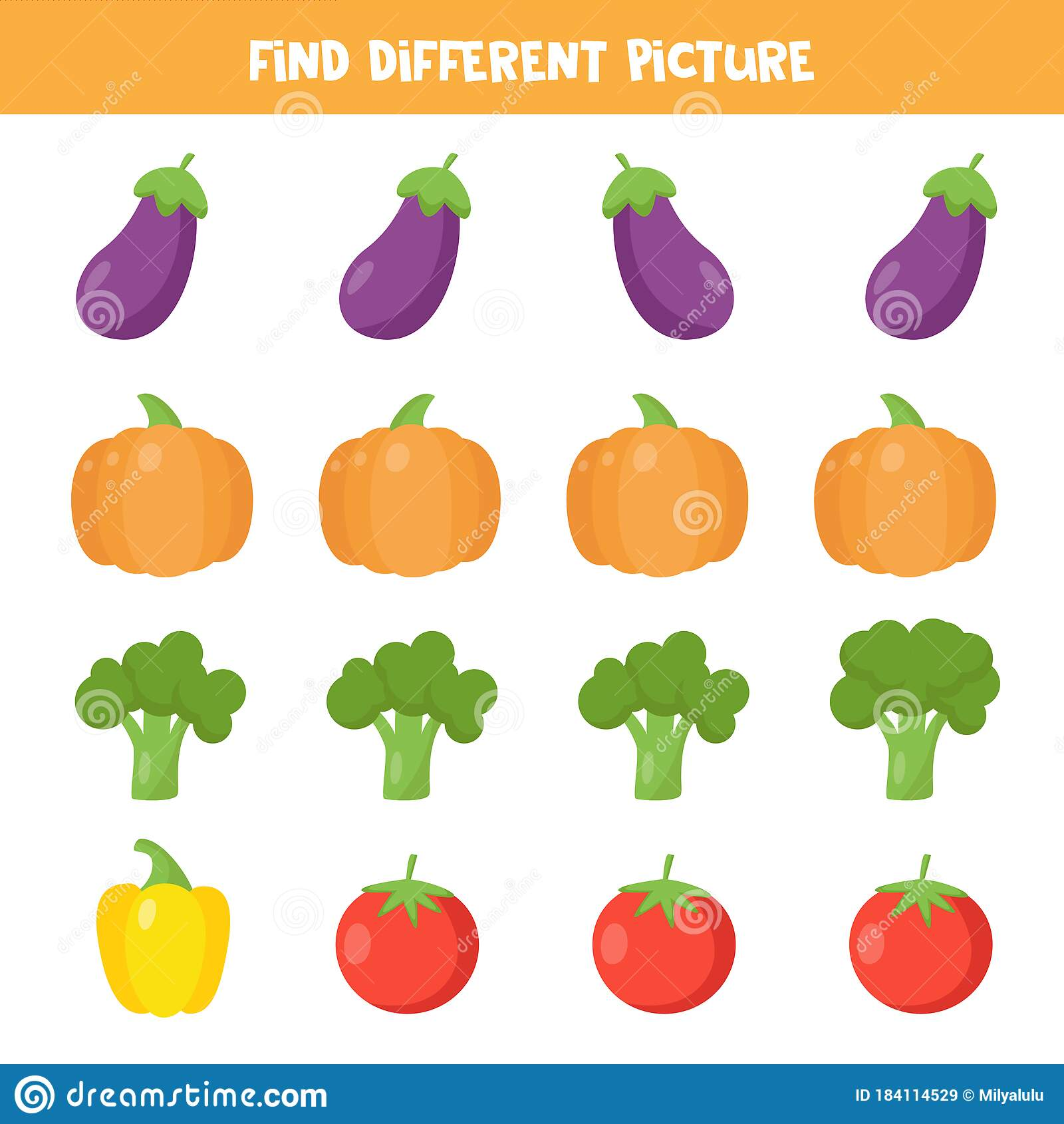 Find Different Vegetable In Each Row Educational
