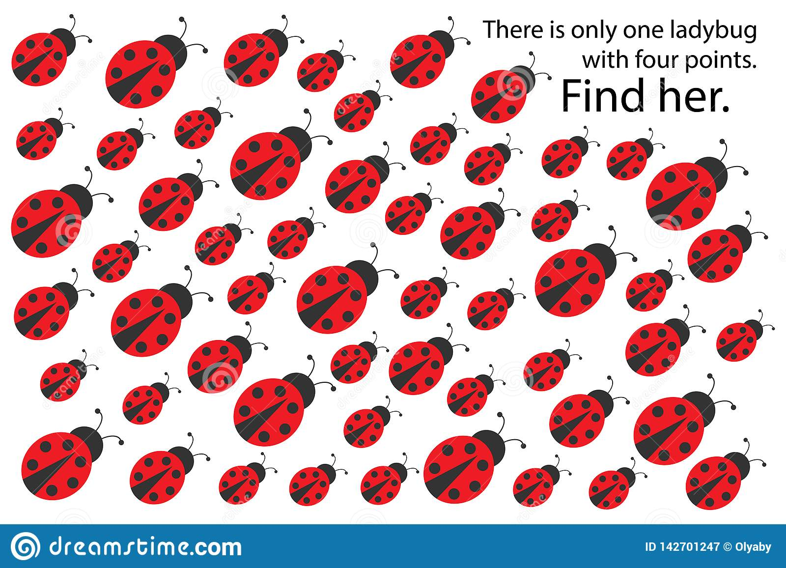 Find Ladybug With 4 Spots Spring Fun Education Puzzle