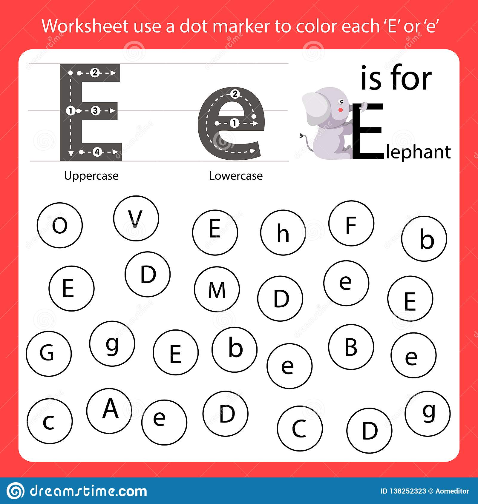 Find The Letter Worksheet Use A Dot Marker To Color Each E