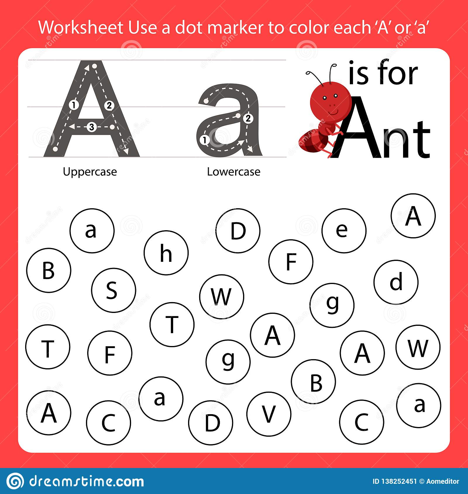 Find The Letter Worksheet Use A Dot Marker To Color Each A