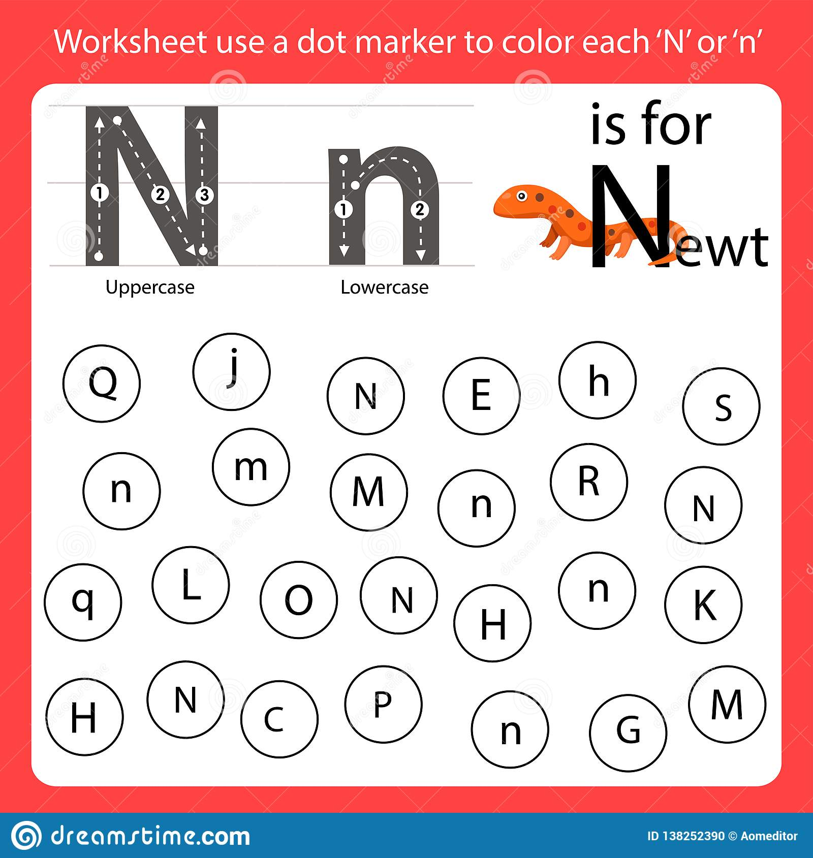 Find The Letter Worksheet Use A Dot Marker To Color Each N
