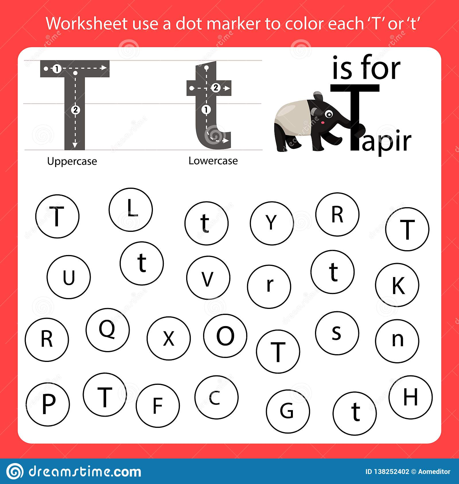 Find The Letter Worksheet Use A Dot Marker To Color Each T
