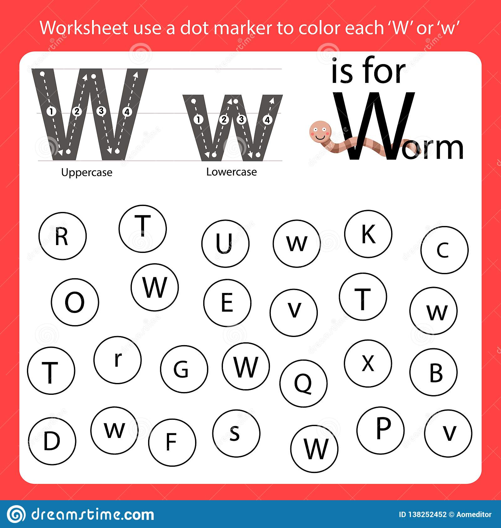 Find The Letter Worksheet Use A Dot Marker To Color Each W