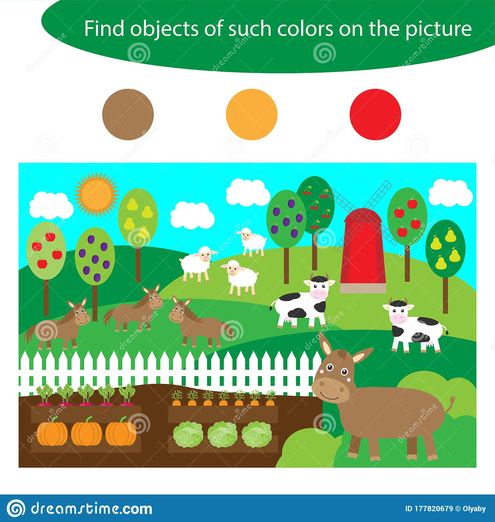Find Objects Of Same Colors Farm Animals Game For
