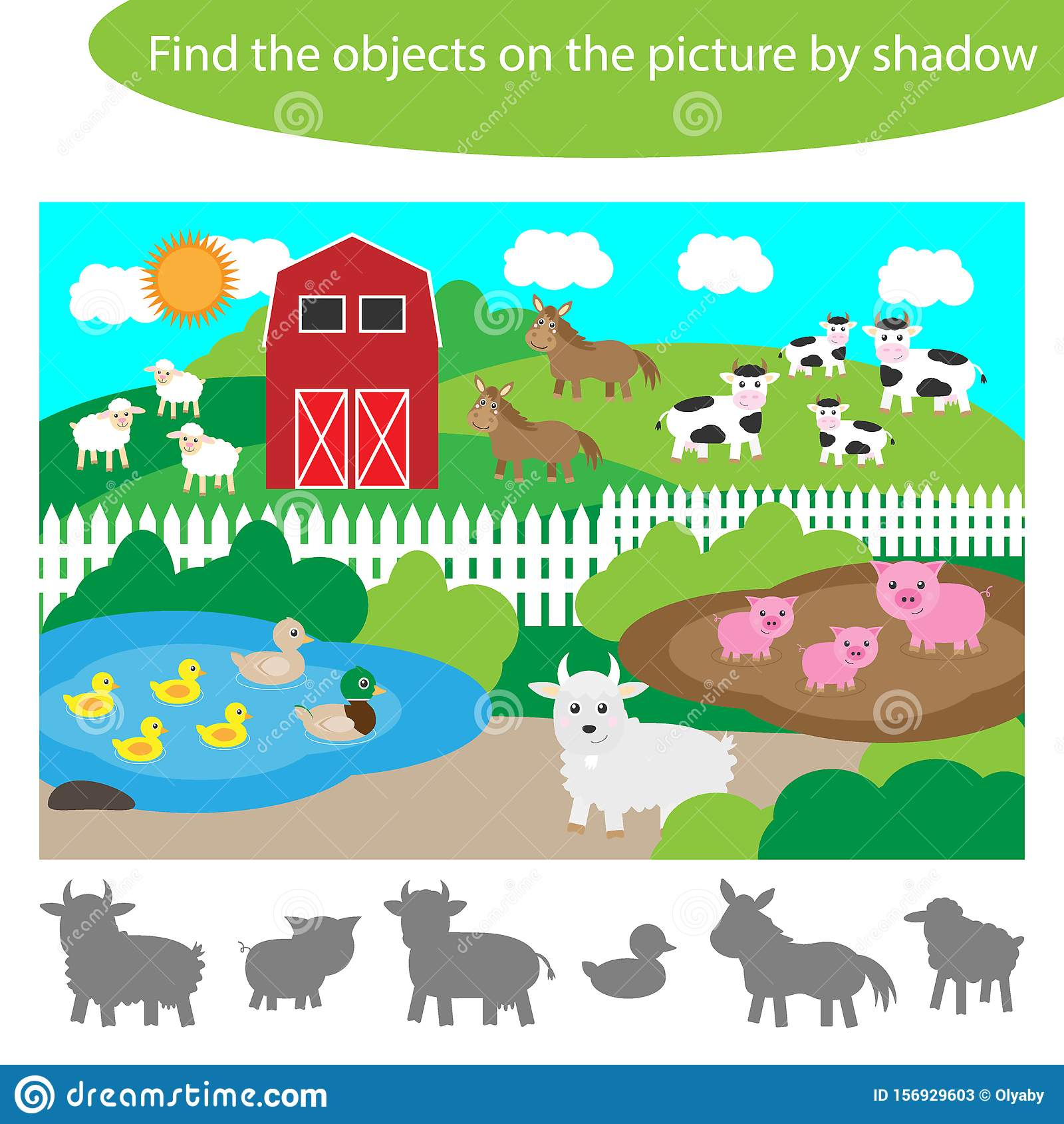 Find The Objects By Shadow Game For Children Farm With