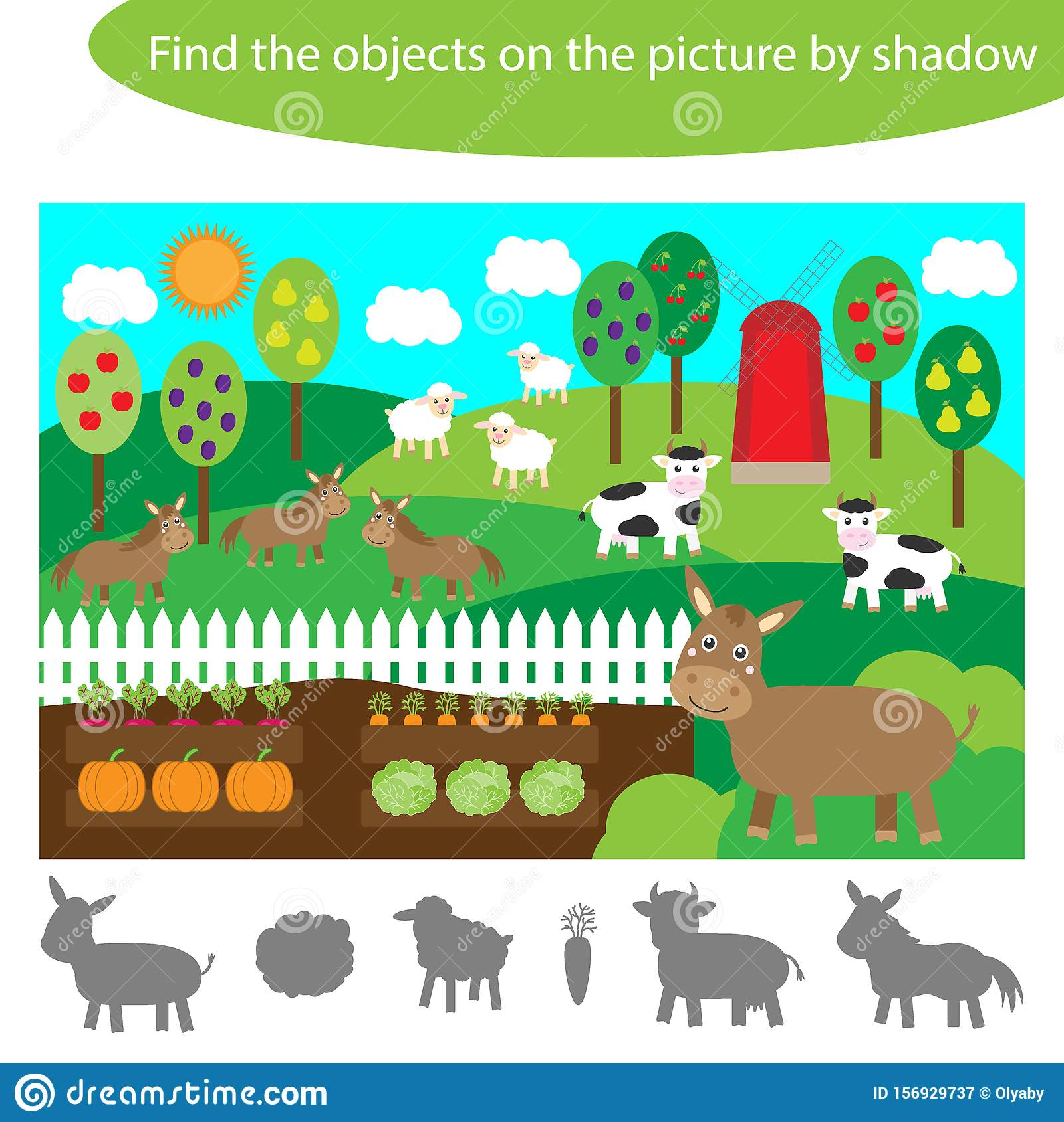 Find The Objects By Shadow Game For Children Farm Animals