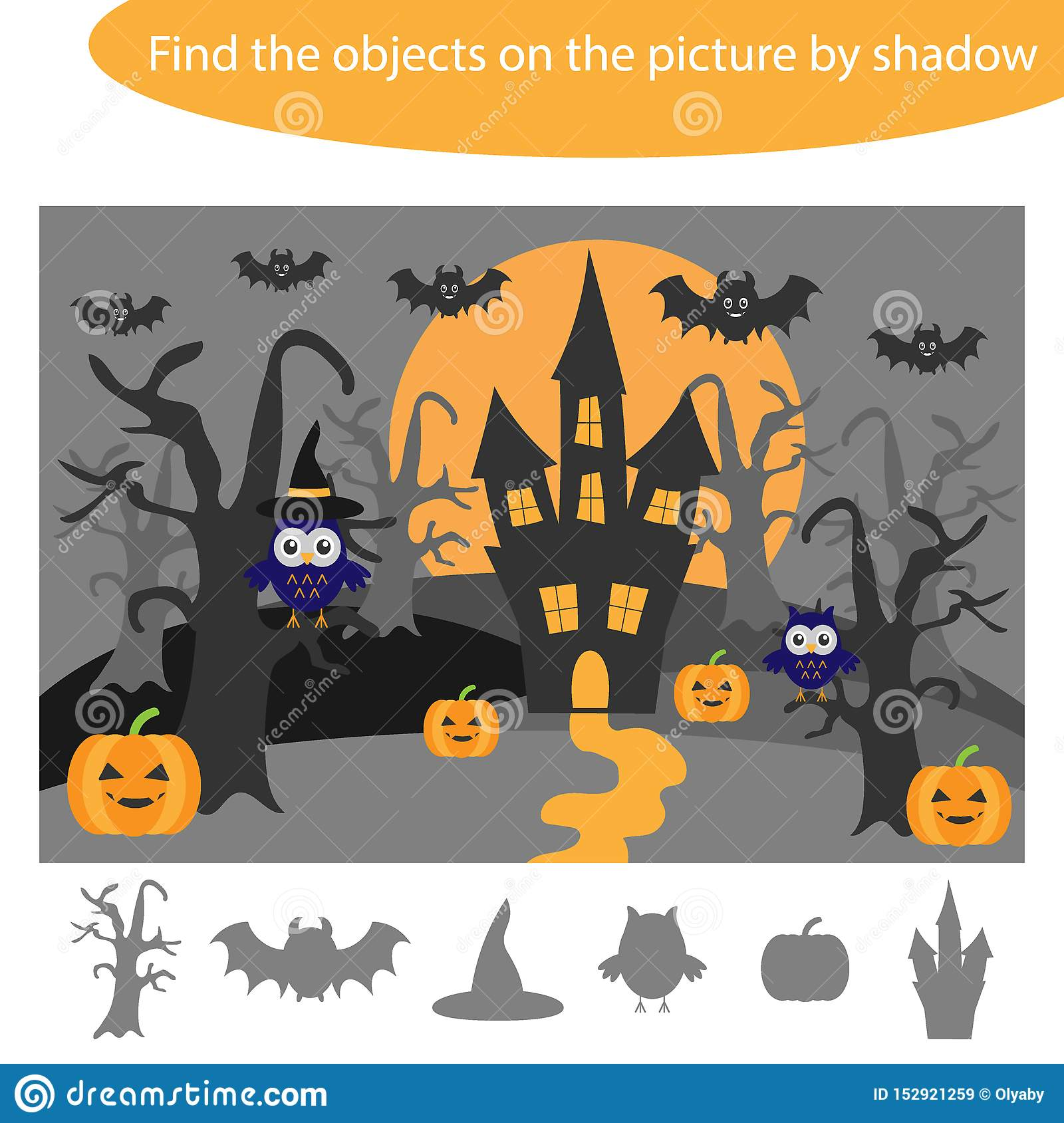 Find The Objects By Shadow Game With Halloween Theme For