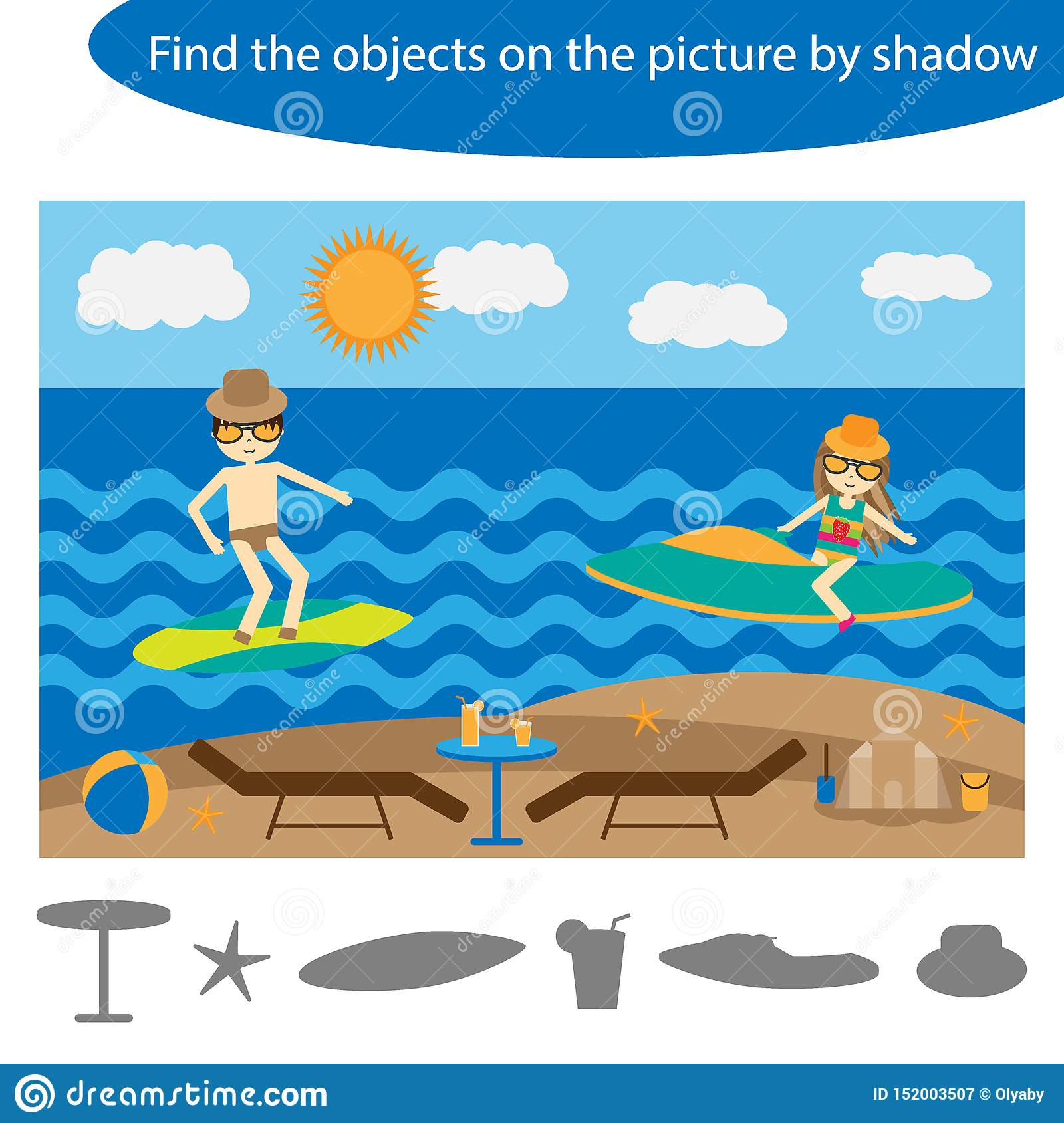 Find The Objects By Shadow Game With Summer Beach For