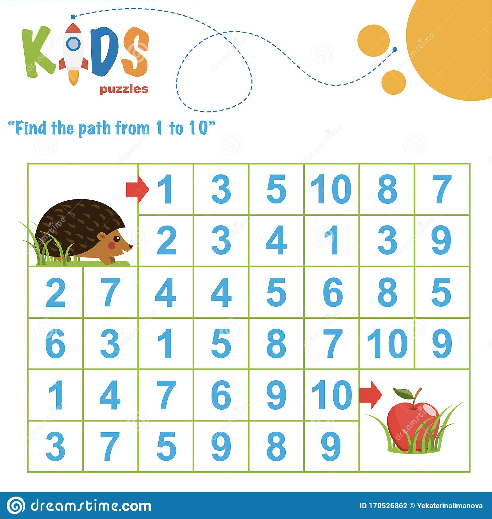 Find The Path From 1 To 10 Easy Colorful Math Worksheet