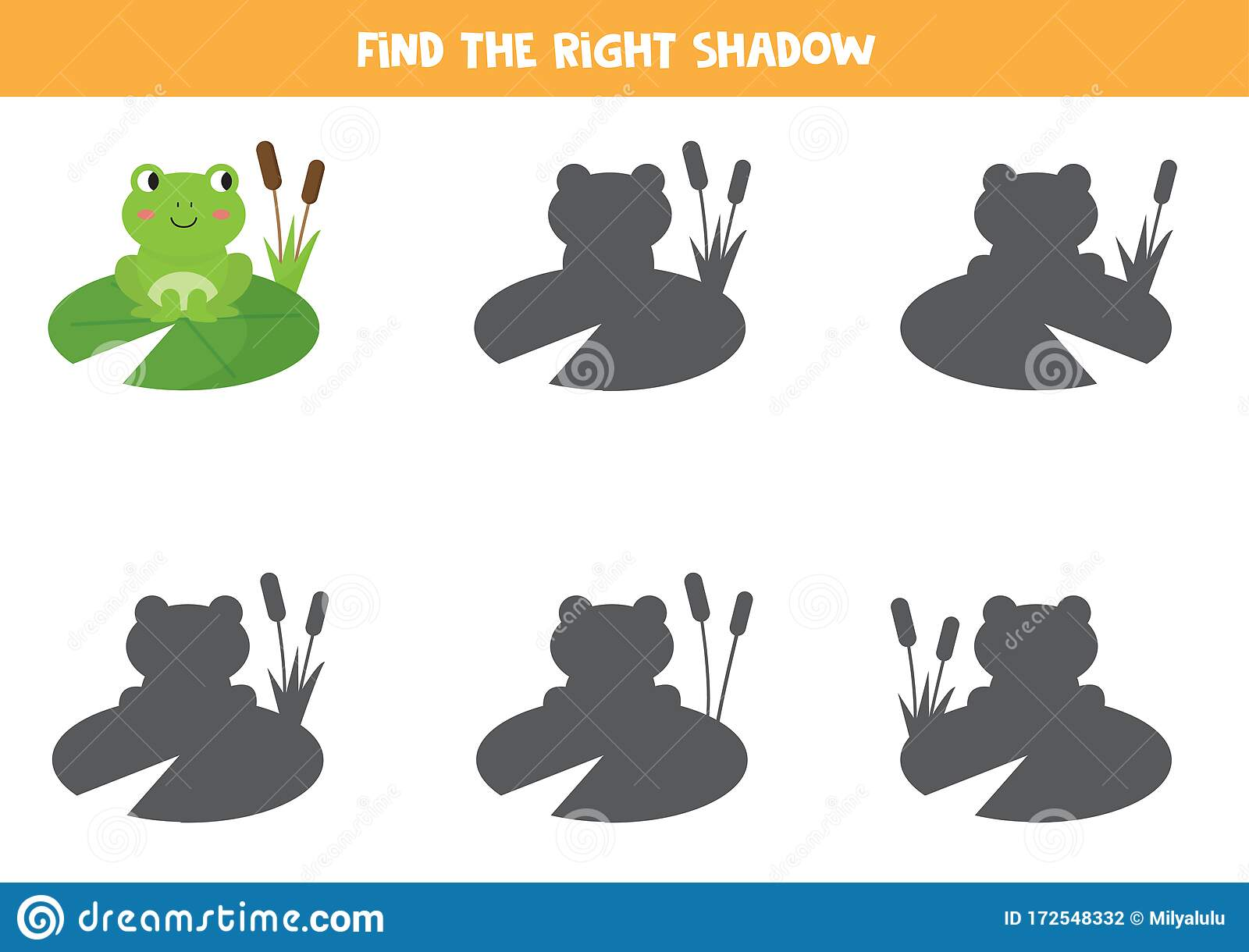 Find The Right Shadow Of Green Frog Logical Game For Kids