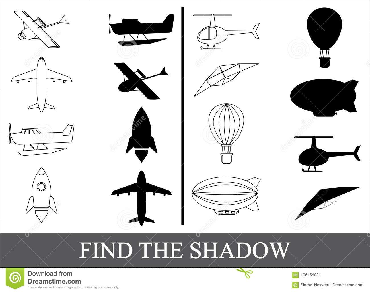 Find The Shadow Of Air Transport Kid S Game Stock Vector