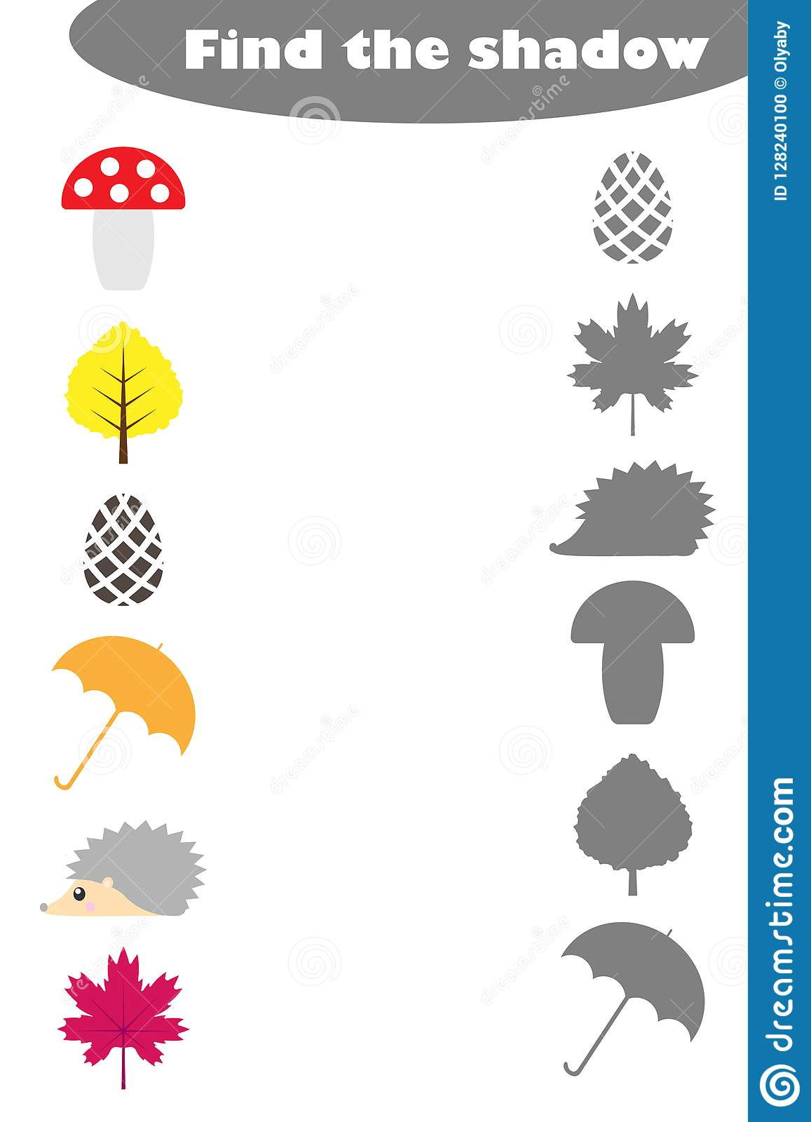 Find The Shadow Game With Autumn Pictures For Children