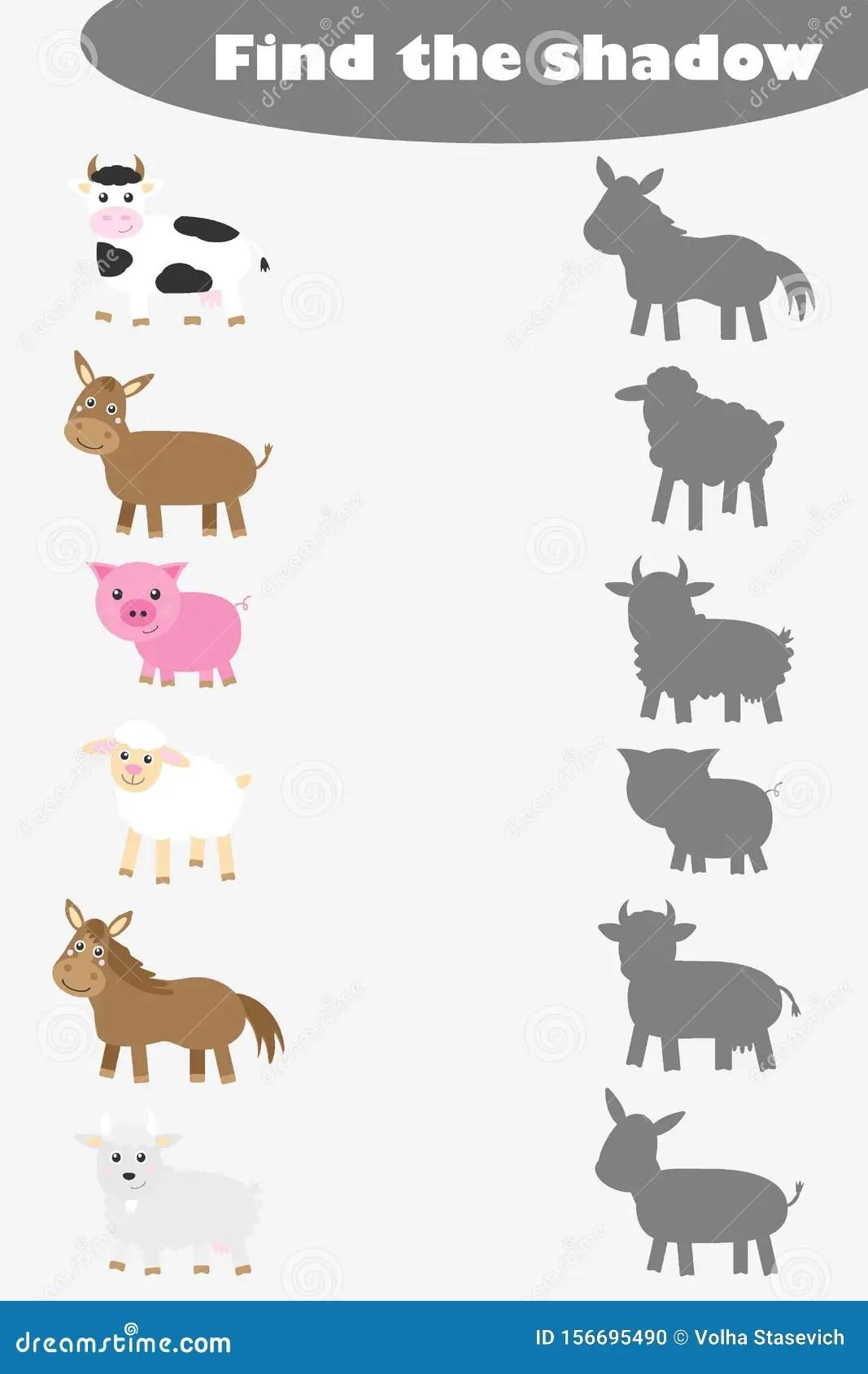 Find The Shadow Game For Children Farm Animals In Cartoon