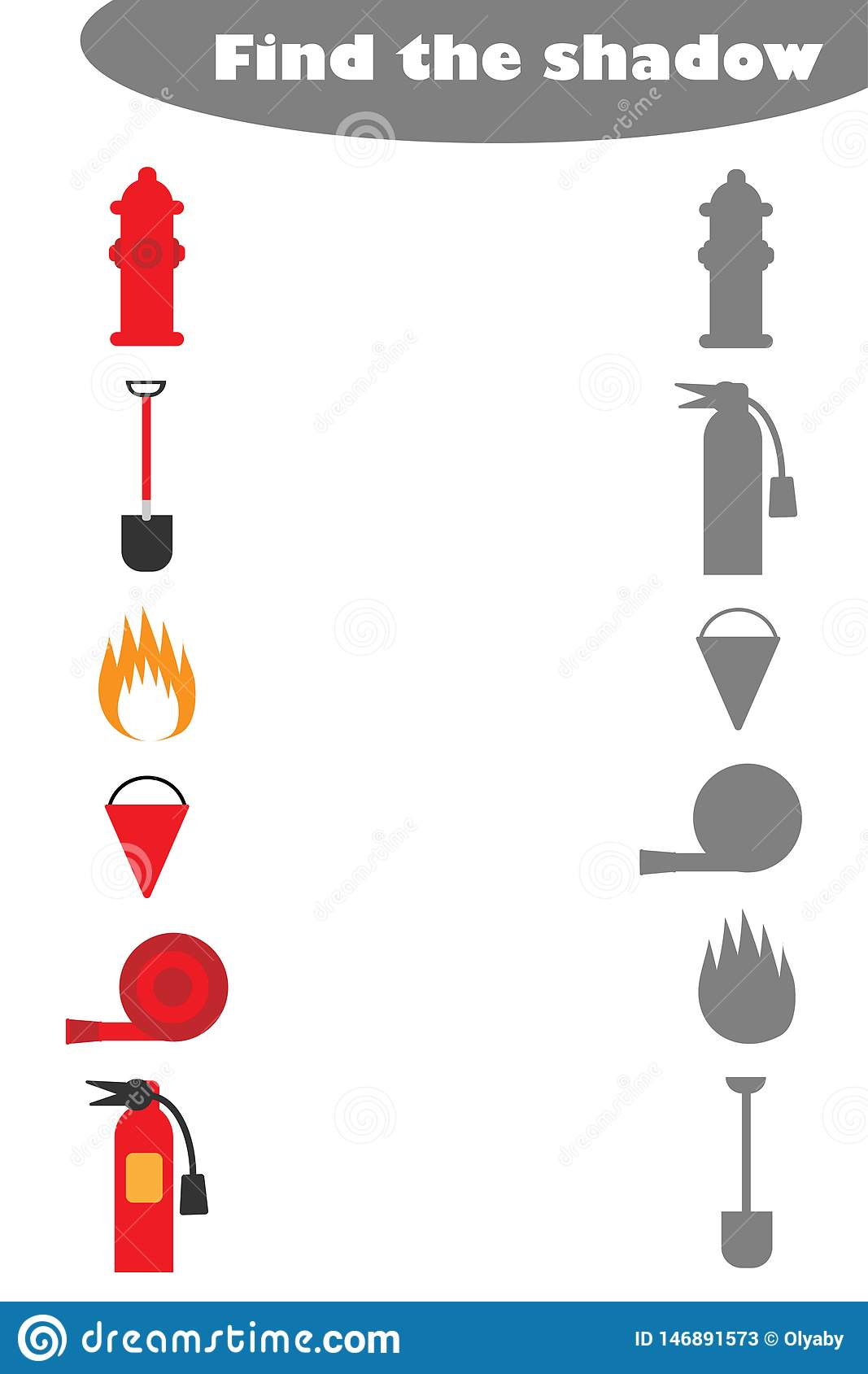 Find The Shadow Game With Fire Pictures For Children