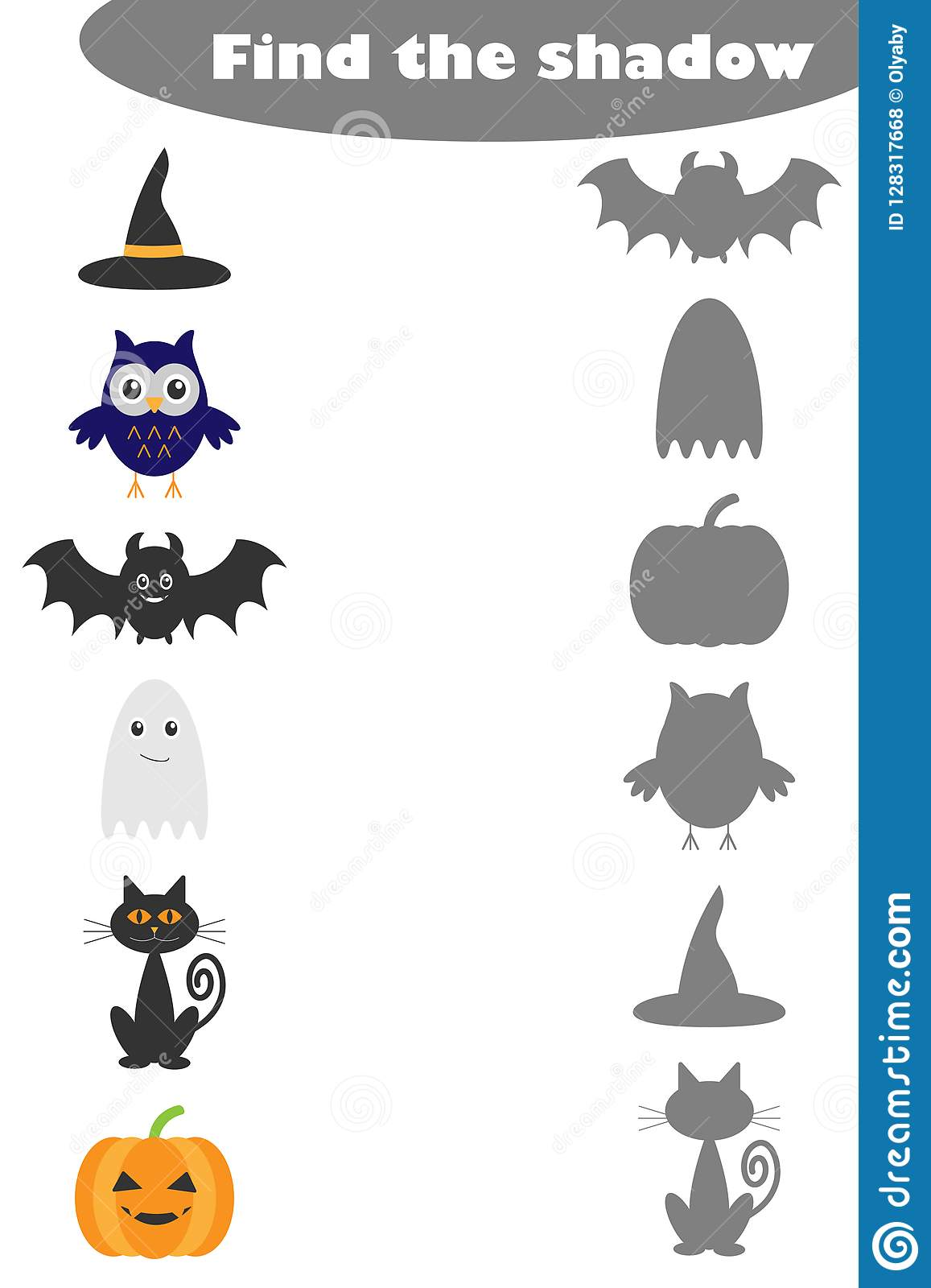 Shadow Matching Game 9 Vector Illustration