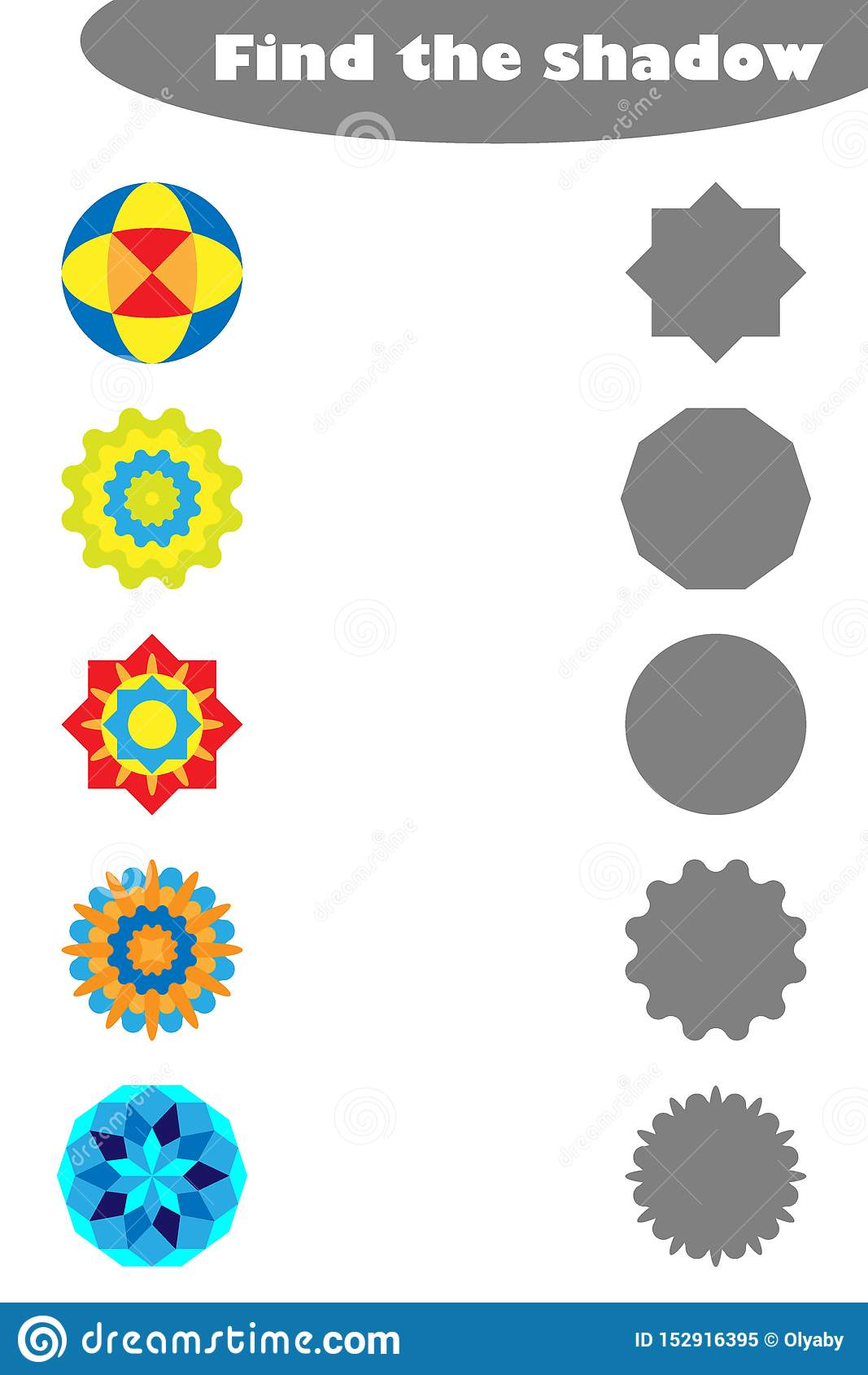 Find The Shadow Game With Mandalas For Children In