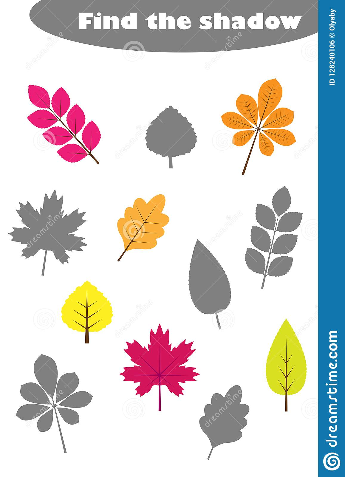 Find The Shadow Game With Pictures Of Autumn Leaves For