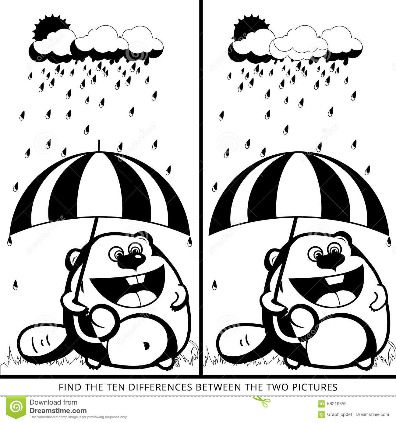 Find Ten Differences Black Stock Vector Illustration Of