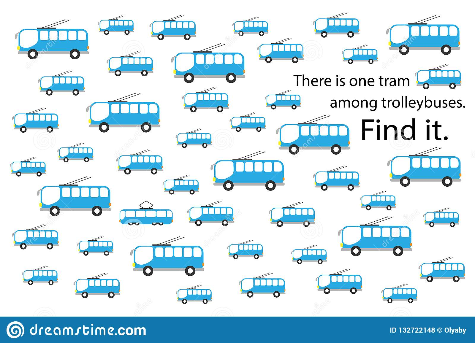 Find Tram Among Trolleybuses Fun Education Puzzle Game