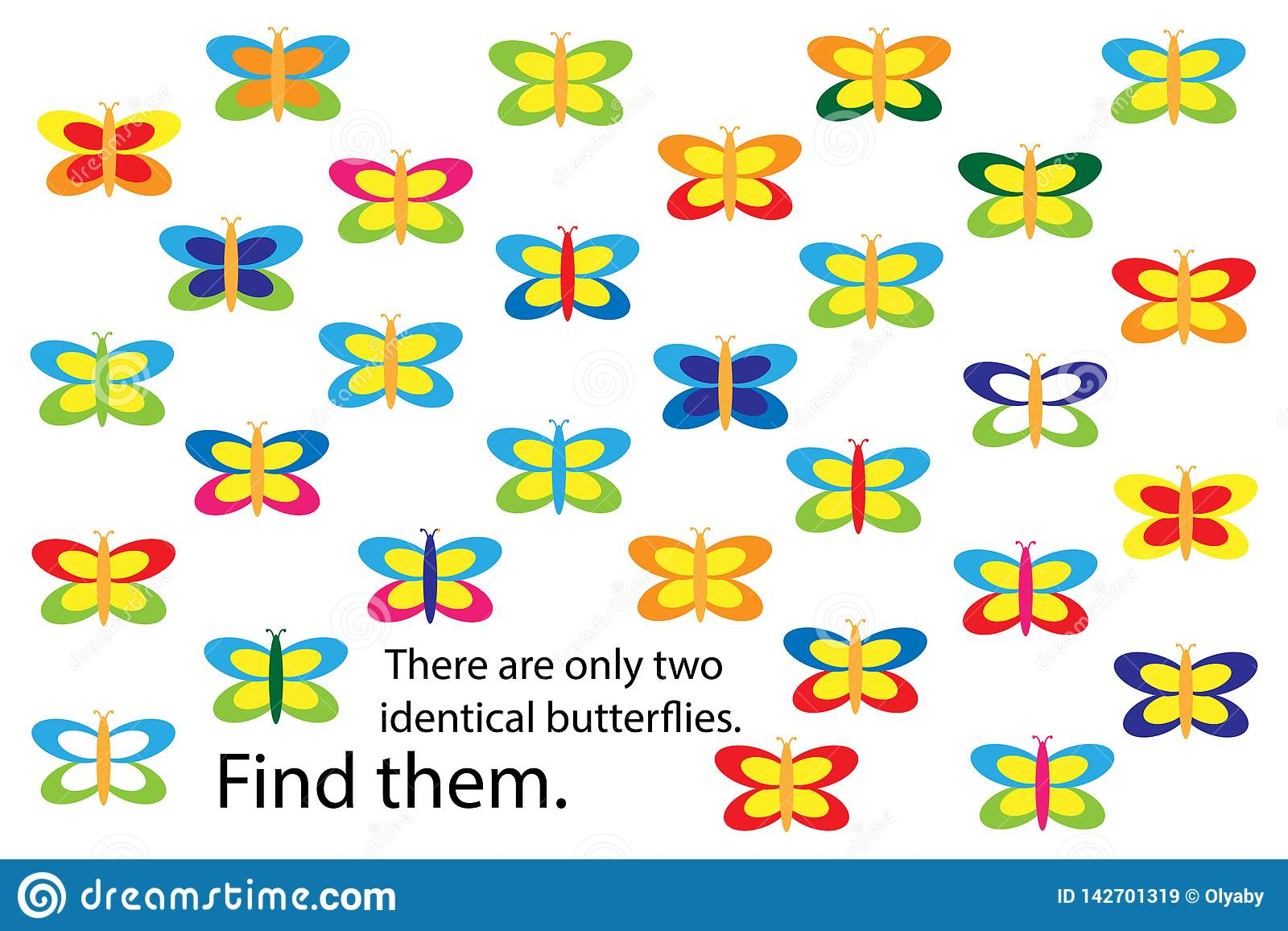 Find Two Identical Butterflies Spring Fun Education