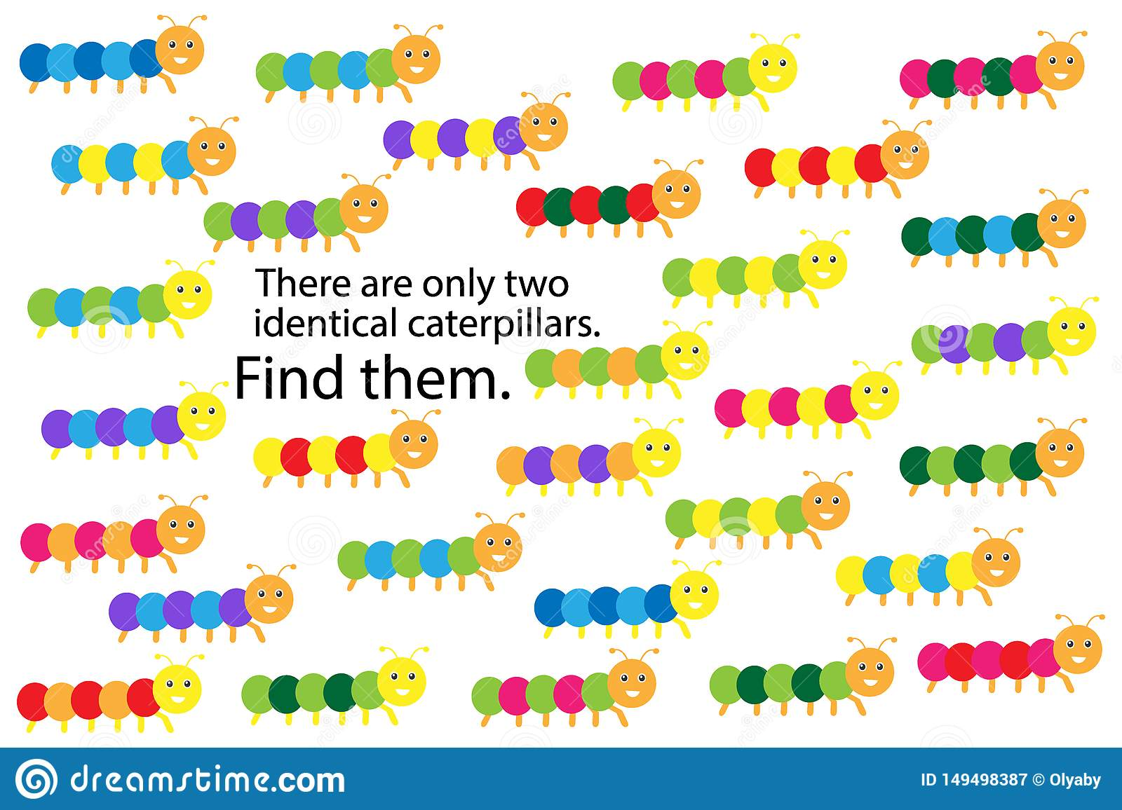 Find Two Identical Caterpillars Spring Fun Education
